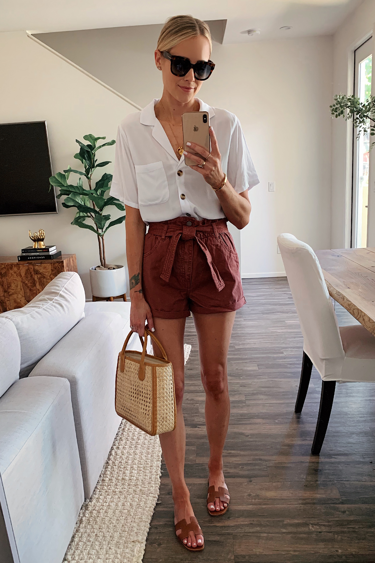 Fashion Jackson Wearing White Button Down Short Sleeve Shirt Burgundy Paperbag Tie Front Shorts Basket Tote Hermes Oran Gold Sandals