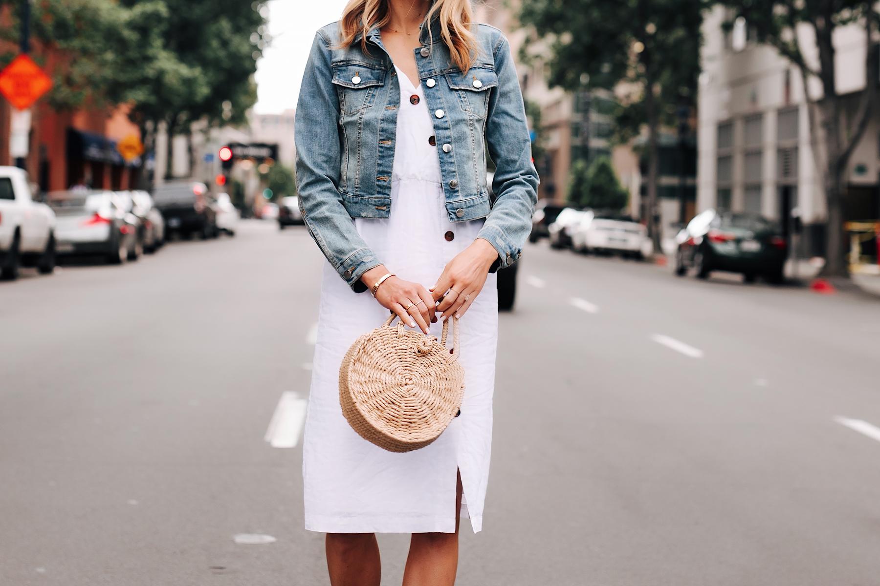 Blonde Woman Wearing White Midi Dress Denim Jacket Straw Circle Handbag Fashion Jackson San Diego Fashion Blogger Street Style