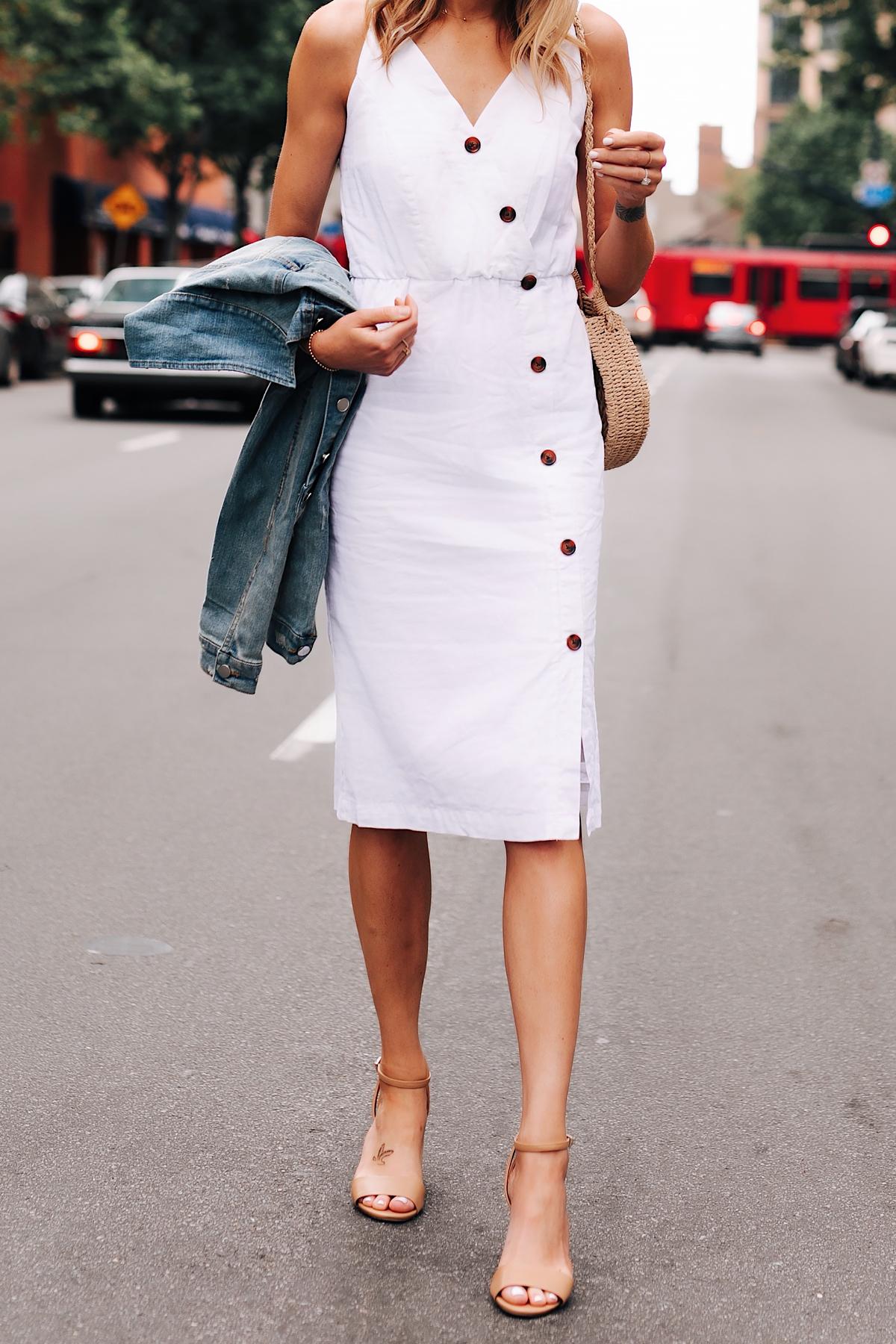 Blonde Woman Wearing White Midi Dress Denim Jacket Tan Ankle Strap Heeled Sandals Fashion Jackson San Diego Fashion Blogger Street Style