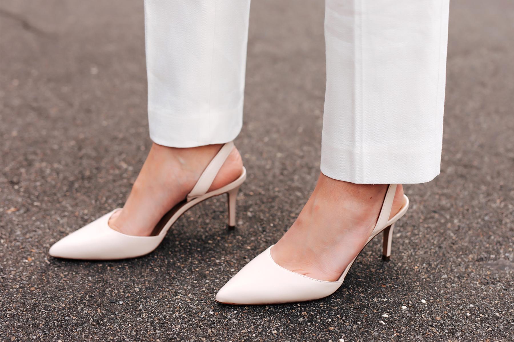 Fashion Jackson Wearing White Pants Ann Taylor White Pumps