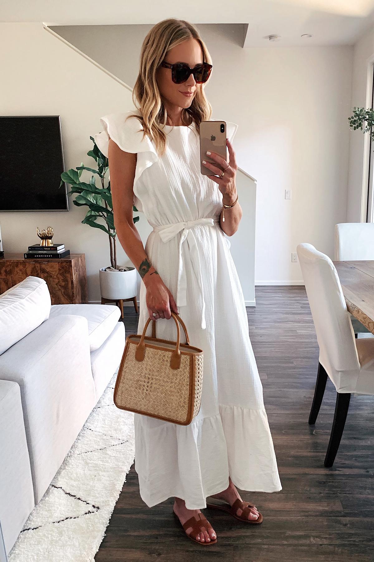 Fashion Jackson Wearing White Ruffle Maxi Dress Hermes Sandals Basket Bag