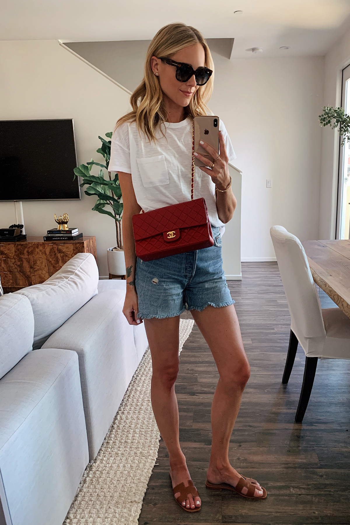 Fashion Jackson Wearing White Tshirt Denim Shorts Red Chanel Handbag Gold Hermes Oran Sandals