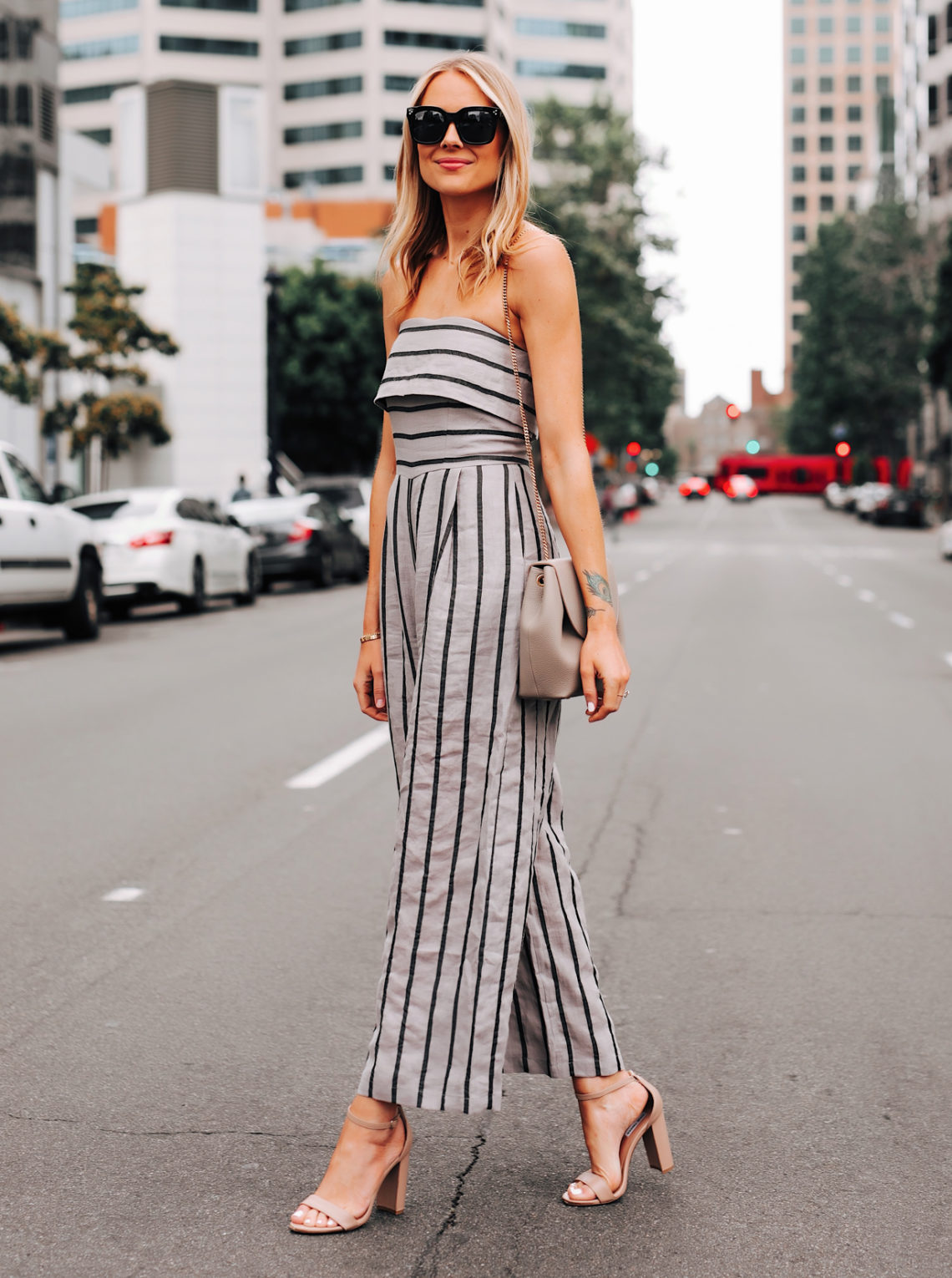 Fashion Jackson Wearing Jing Grey Strapless Stripe Jumpsuit Heeled Sandals Featured Image