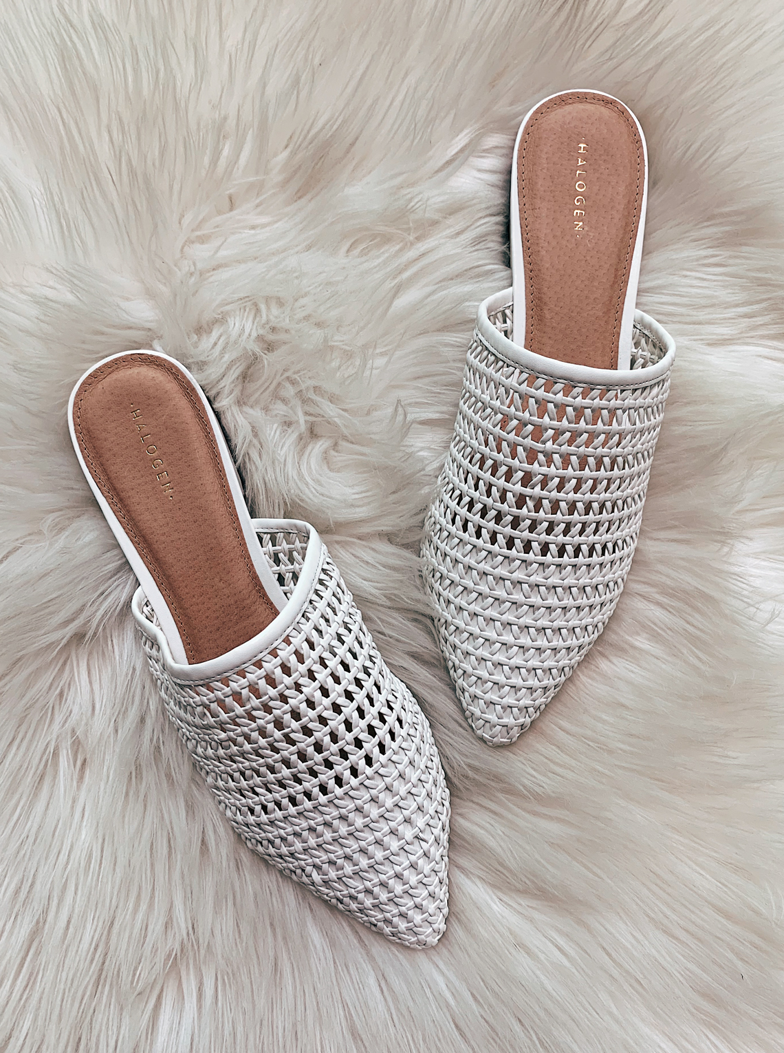 Halogen White Woven Mules