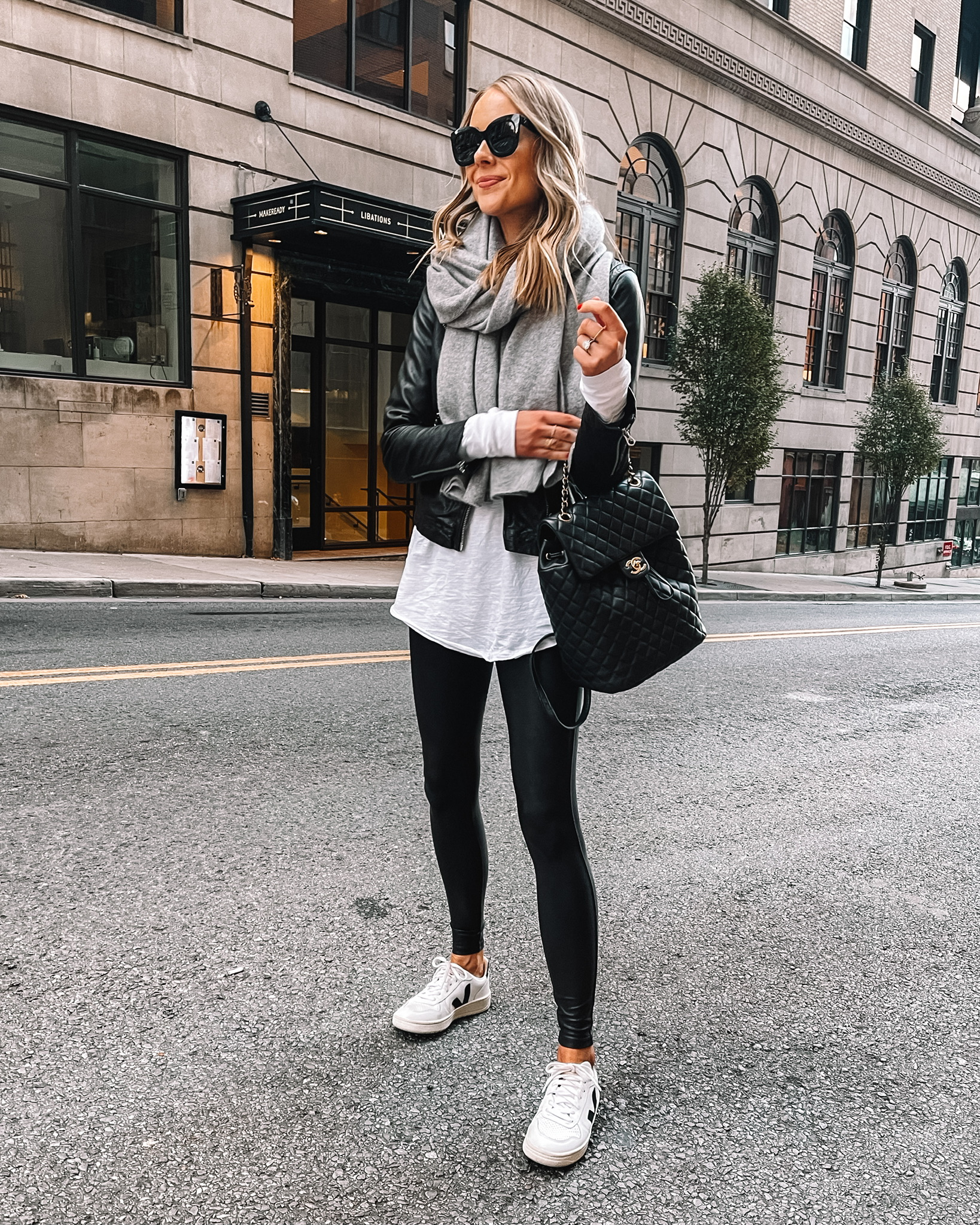 Fashion Jackson Wearing Black Leather Jacket Spanx Faux Leather Leggings Grey Scarf Street Style