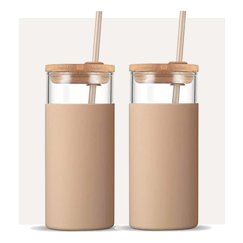 Amazon Glass Tumbler with Silicone Cover and Straw