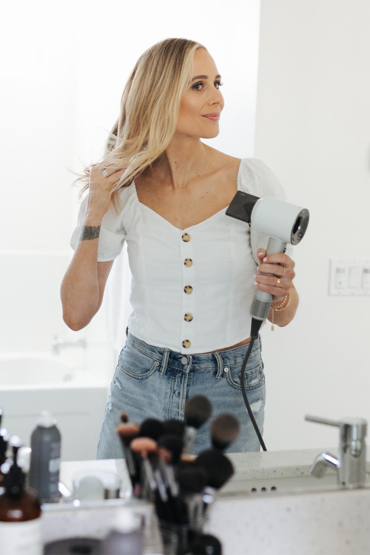 Fashion Jackson Using Dyson Hair Dryer