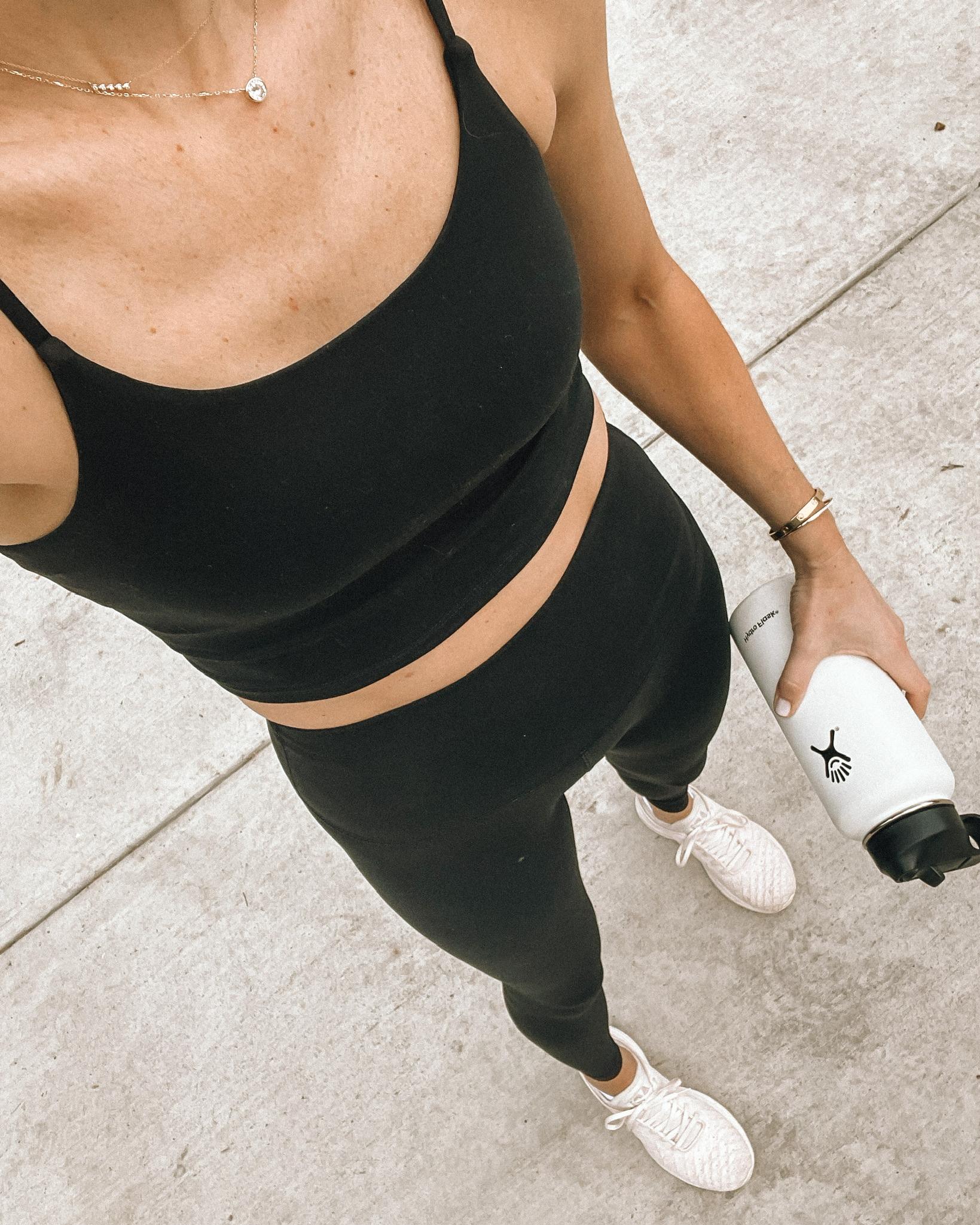 Fashion Jackson Wearing Amazon Fashion Black Workout Tank Black Leggings Fitness Outfit