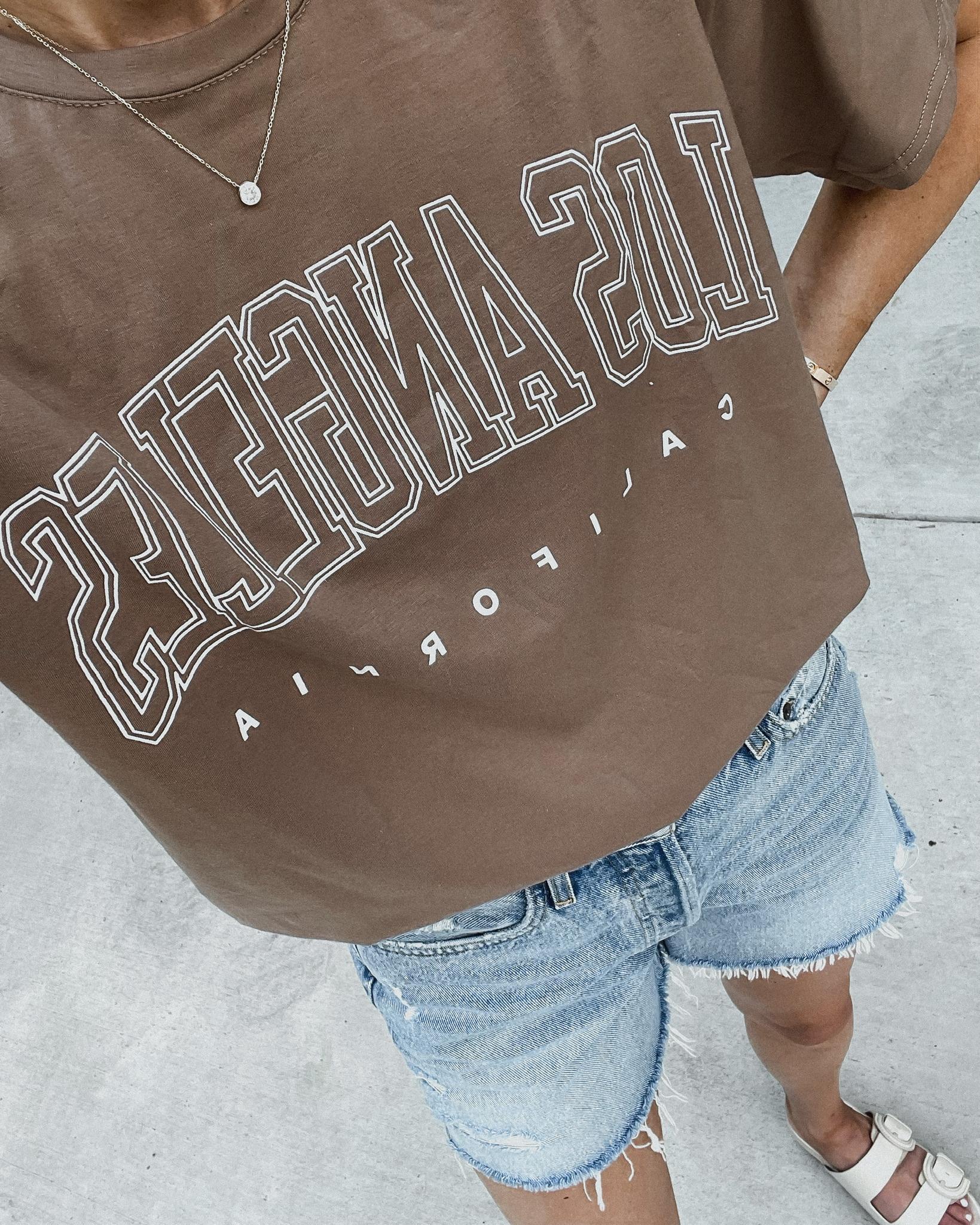 Fashion Jackson Wearing Amazon Fashion Los Angeles Graphic Tshirt Denim Shorts Outfit