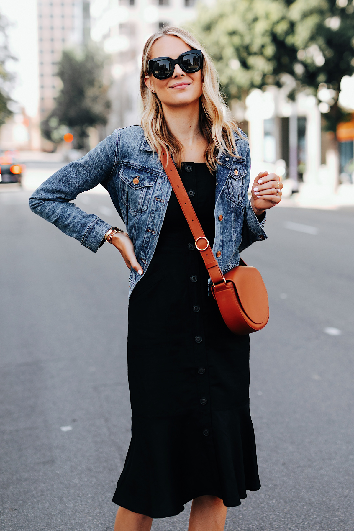 Fashion Jackson Wearing Banana Republic Black Button Front Dress Denim Jacket Tan Crossbody Handbag