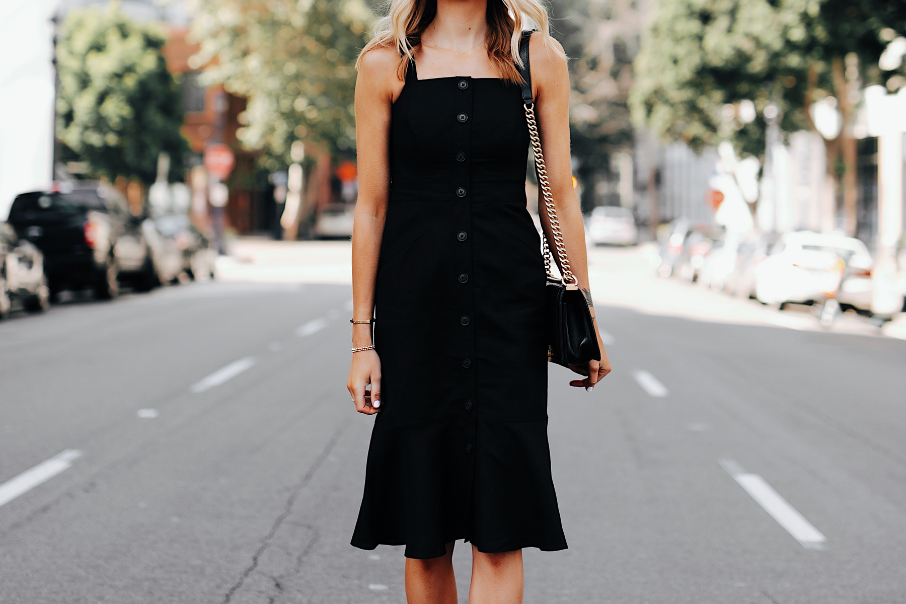 Fashion Jackson Wearing Banana Republic Black Button Front Tank Dress