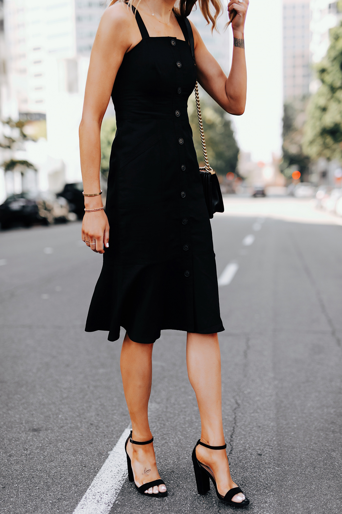 Fashion Jackson Wearing Banana Republic Black Button Front Tank Dress Black Ankle Strap Heeled Sandals
