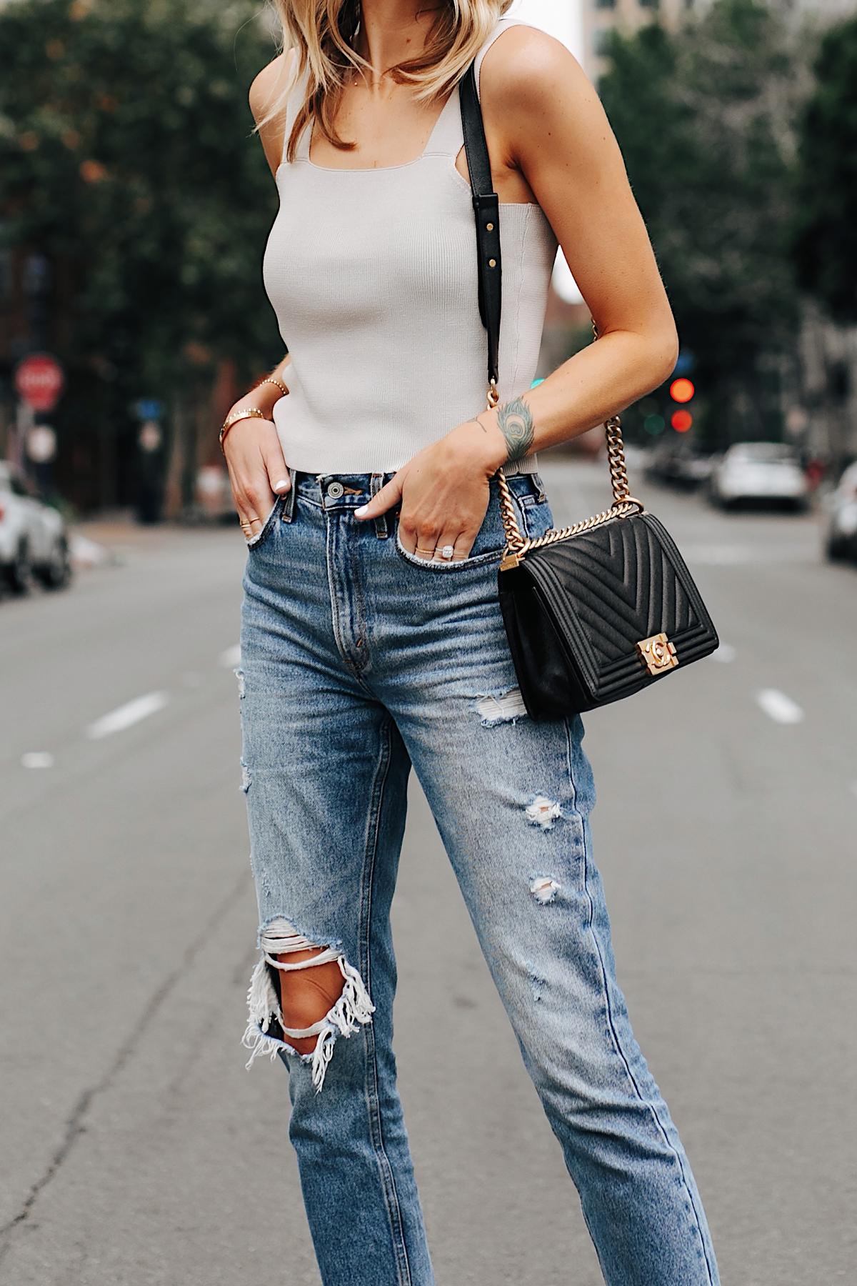 Fashion Jackson Wearing Beige Knit Tank Abercrombie Ripped Mom Jeans Chanel Black Boy Bag