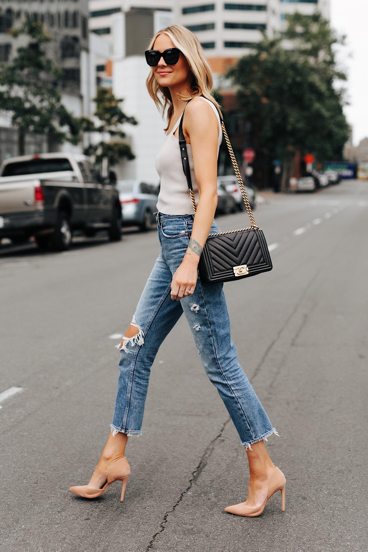 Fashion Jackson Wearing Beige Knit Tank Abercrombie Ripped Mom Jeans Tan Pumps Chanel Black Boy Bag