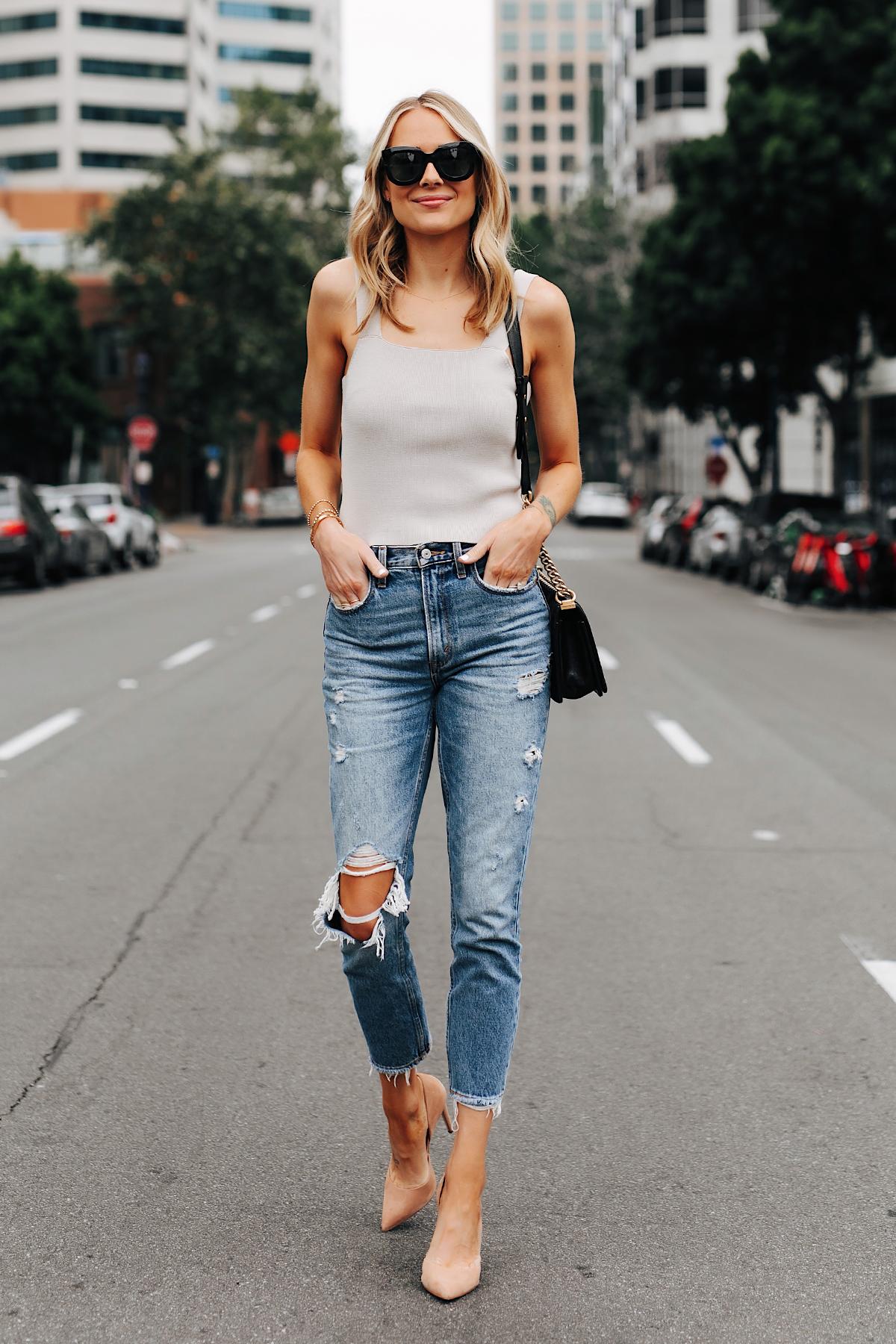 Fashion Jackson Wearing Beige Knit Tank Abercrombie Ripped Mom Jeans Tan Pumps