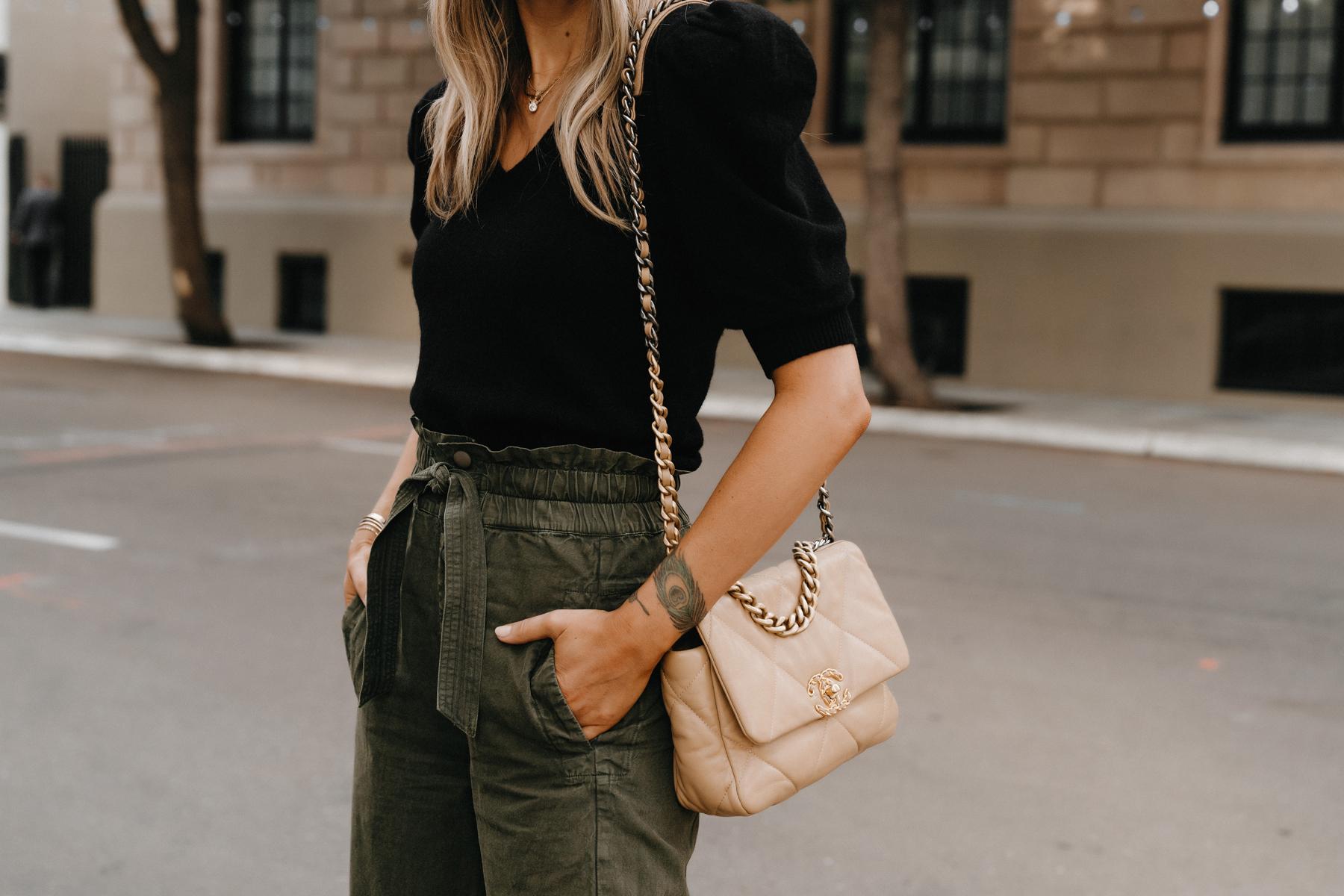 Fashion Jackson Wearing Black Puff Sleeve Sweater Olive Green Trousers Chanel 19 Beige Handbag