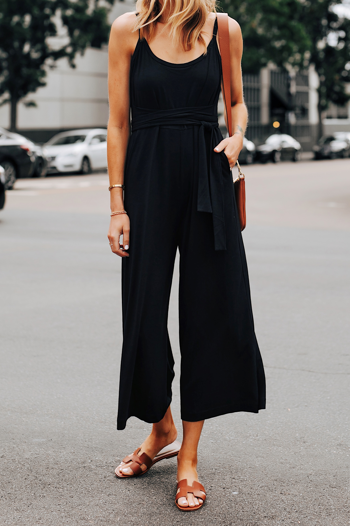 Fashion Jackson Wearing Cuyana Black Jumpsuit Hermes Oran Gold Sandals