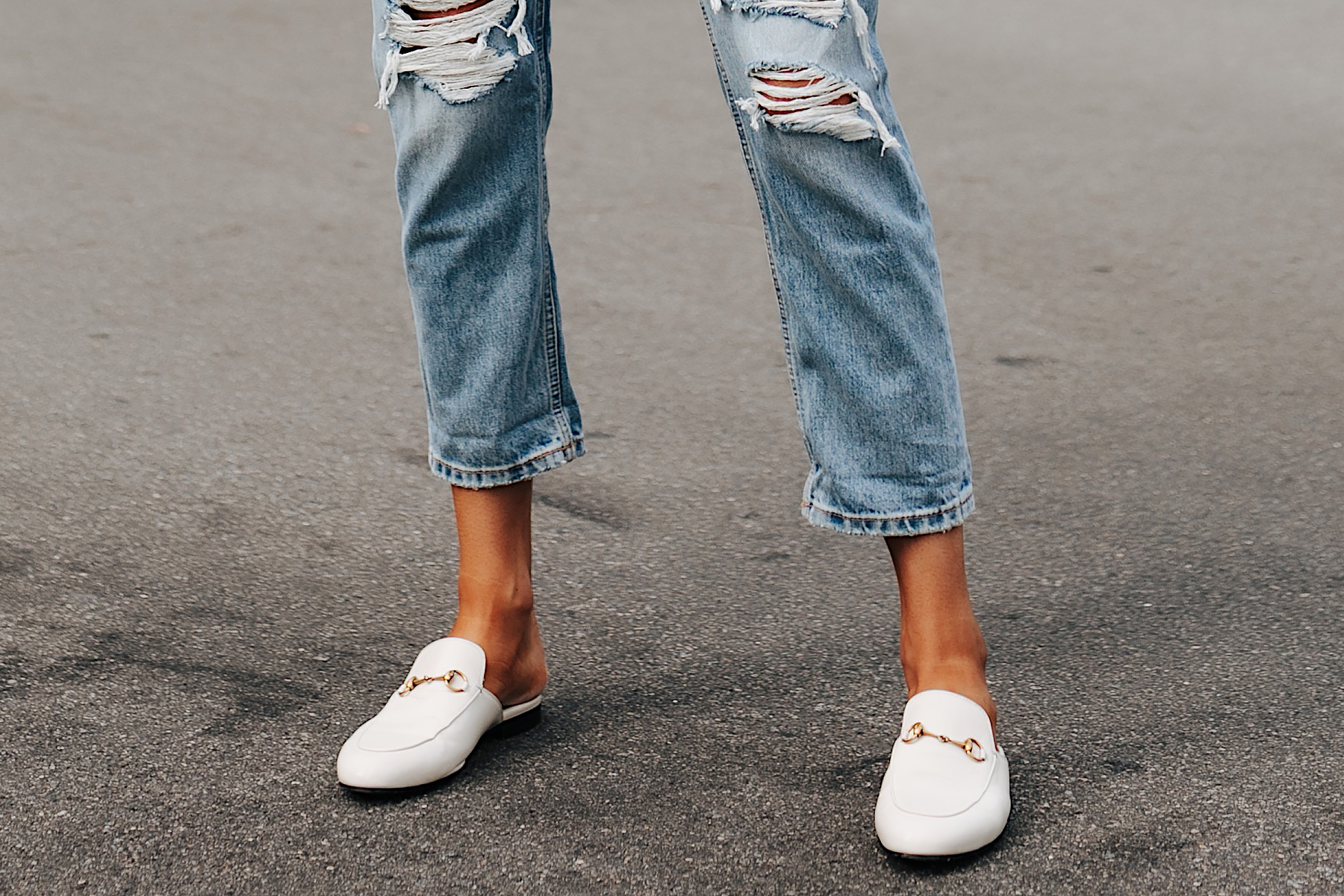 Fashion Jackson Wearing Everlane Ripped Boyfriend Jeans Gucci Princetown White Mules 2