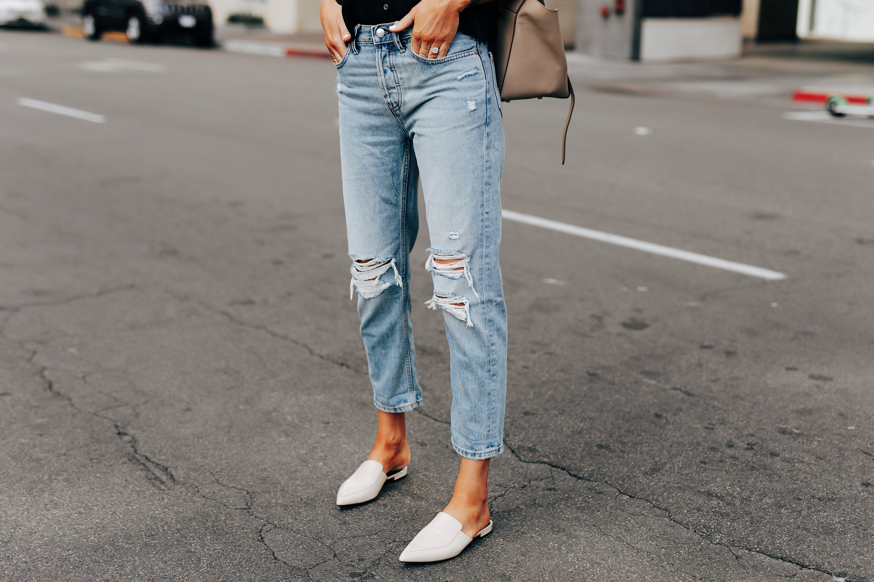 Fashion Jackson Wearing Everlane Ripped Boyfriend Jeans White Mules
