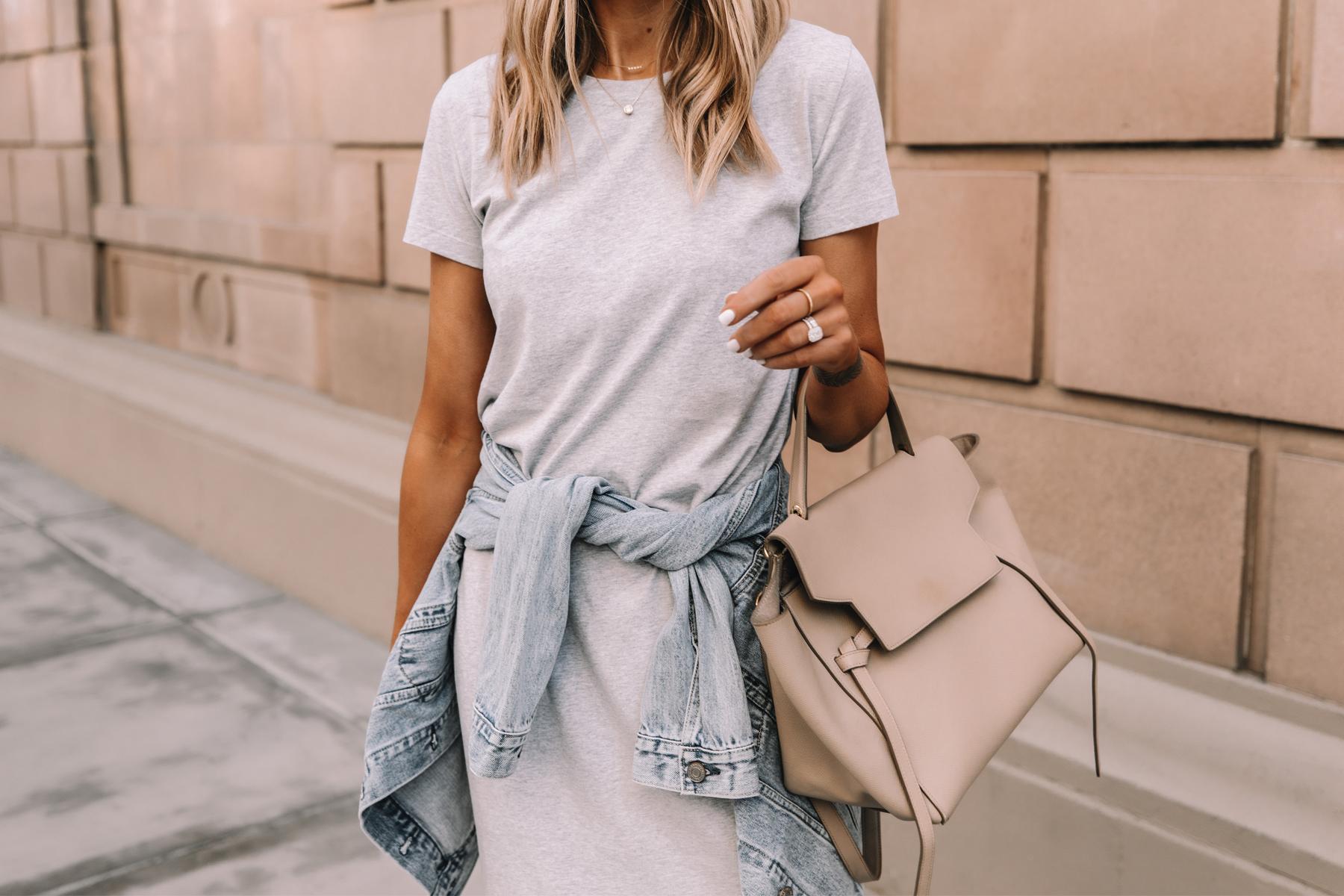 Fashion Jackson Wearing Jcrew Grey Midi Tshirt Dress Denim Jacket Celine Belt Bag