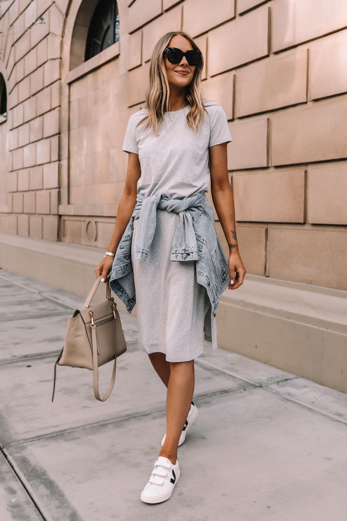 Fashion Jackson Wearing Jcrew Grey Midi Tshirt Dress Denim Jacket Veja Velcro Sneakers Celine Belt Bag Street Style Summer Outfit 1
