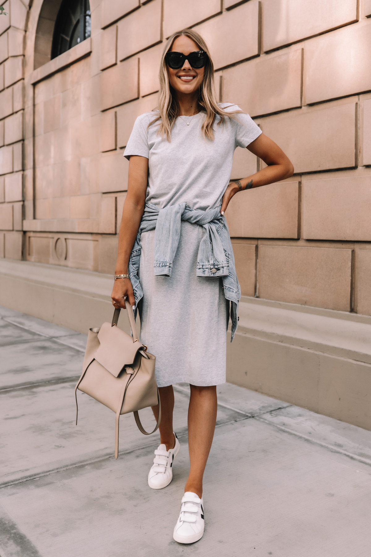 Fashion Jackson Wearing Jcrew Grey Midi Tshirt Dress Denim Jacket Veja Velcro Sneakers Celine Belt Bag Street Style Summer Outfit 2