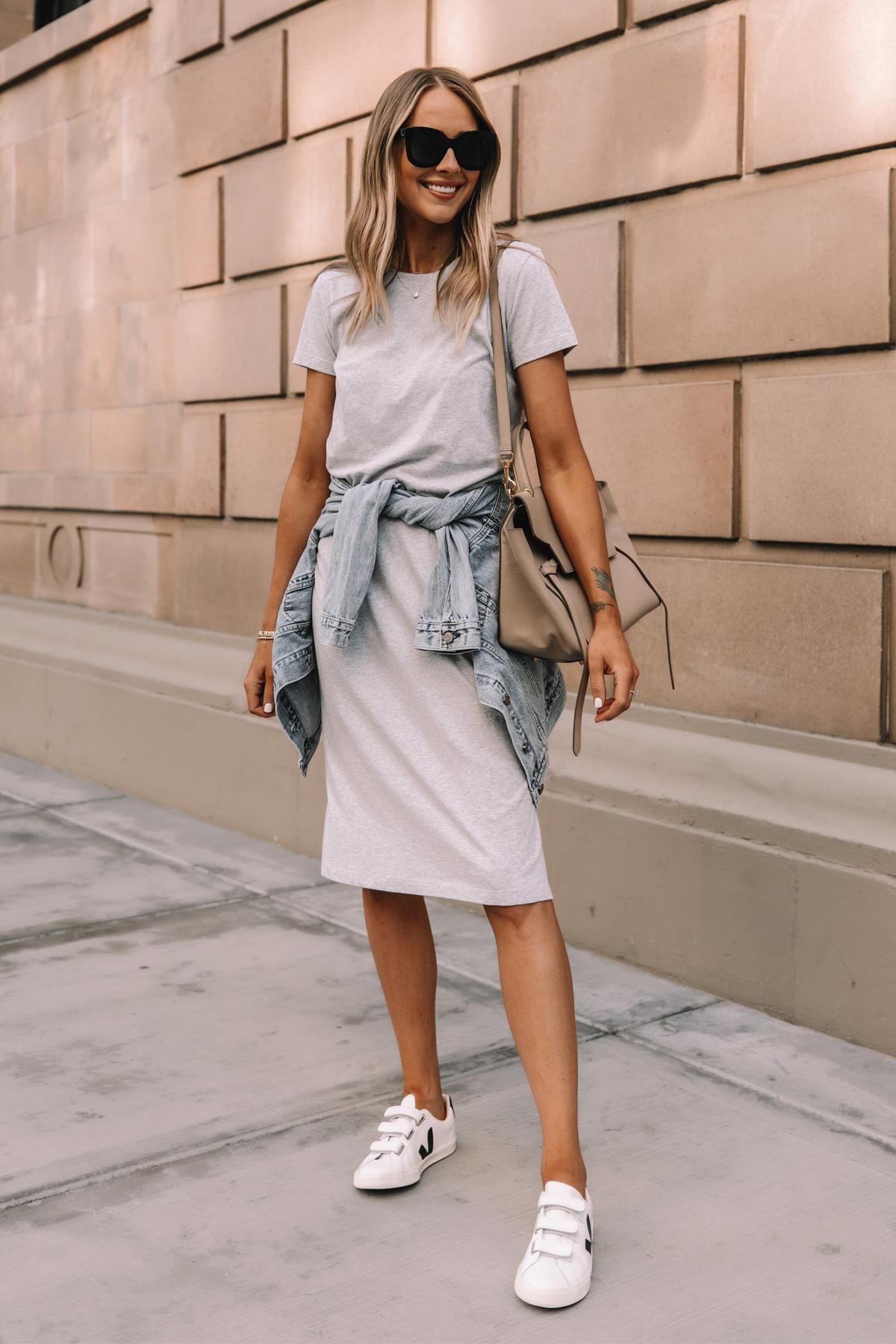 Fashion Jackson Wearing Jcrew Grey Midi Tshirt Dress Denim Jacket Veja Velcro Sneakers Celine Belt Bag Street Style Summer Outfit