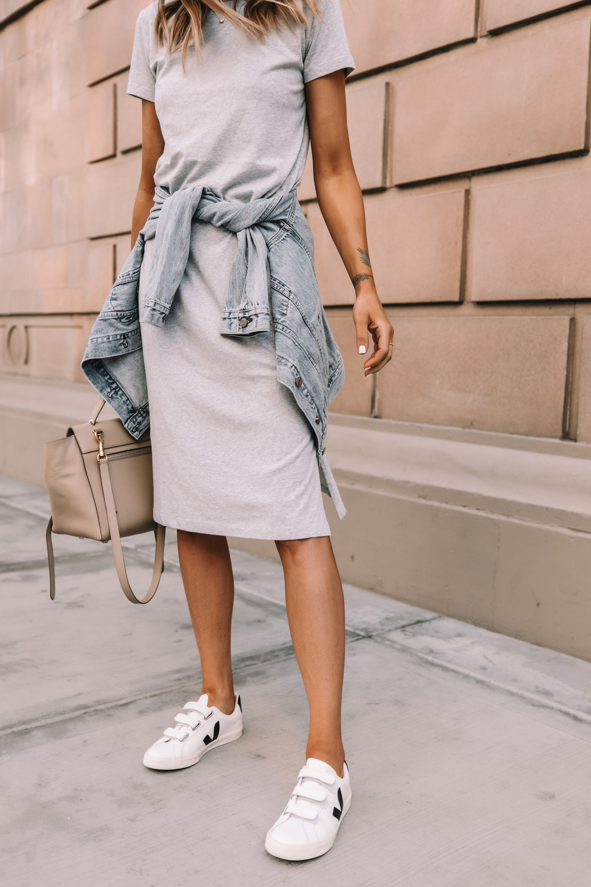 Fashion Jackson Wearing Jcrew Grey Midi Tshirt Dress Denim Jacket Veja Velcro Sneakers Celine Belt Bag