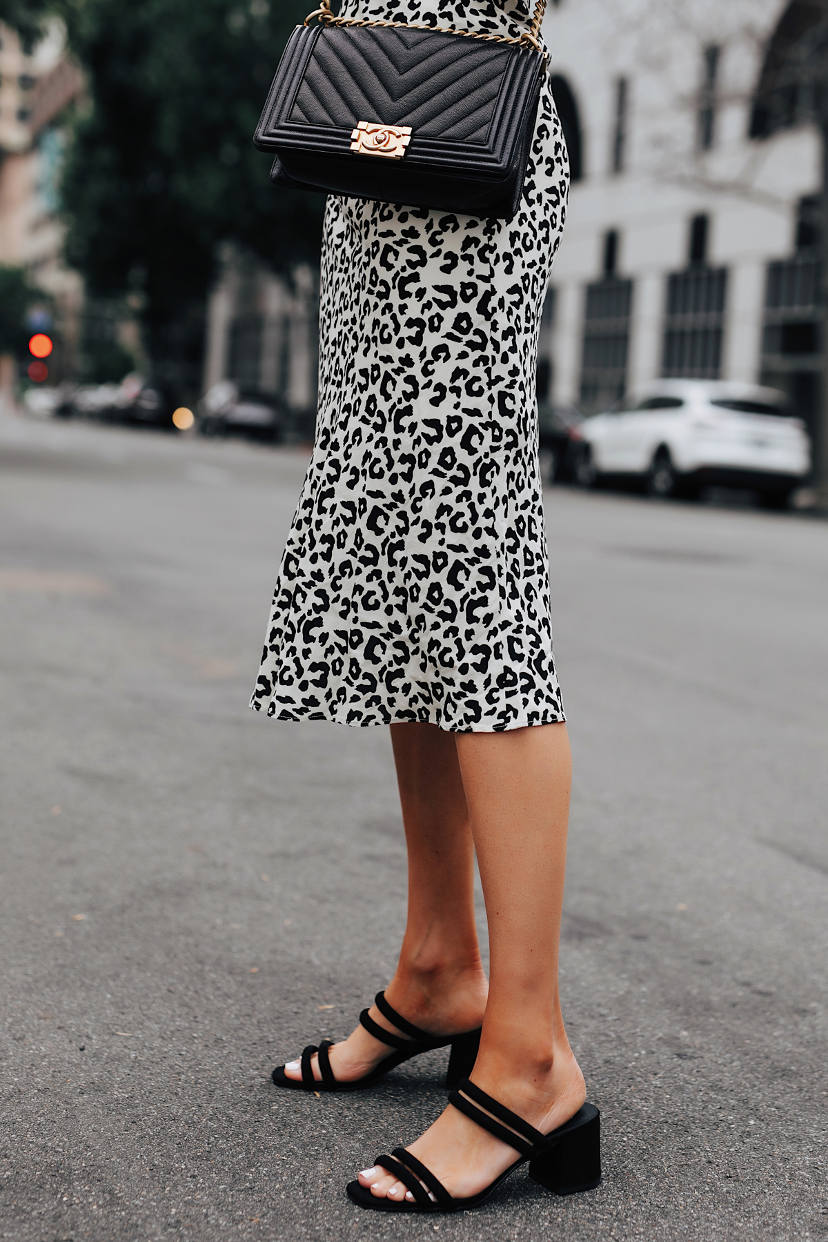 Fashion Jackson Wearing Leopard Midi Skirt Chanel Black Boy Bag Black Heeled Sandals