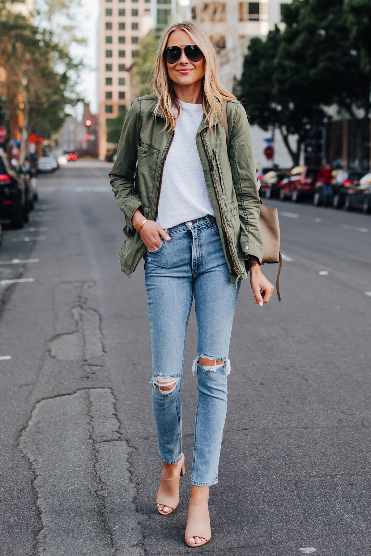 ashion-Jackson-Wearing-Madewell-Green-Utility-Jacket-ATM-White-Tshirt-Reformation-Ripped-Skinny-Jeans-Vince-Hanna-Nude-Heeled-Mules