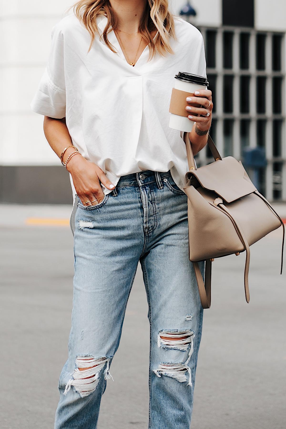 Fashion Jackson Wearing Madewell Short Sleeve White Shirt Everlane Ripped Boyfriend Jeans Celine Mini Belt Bag