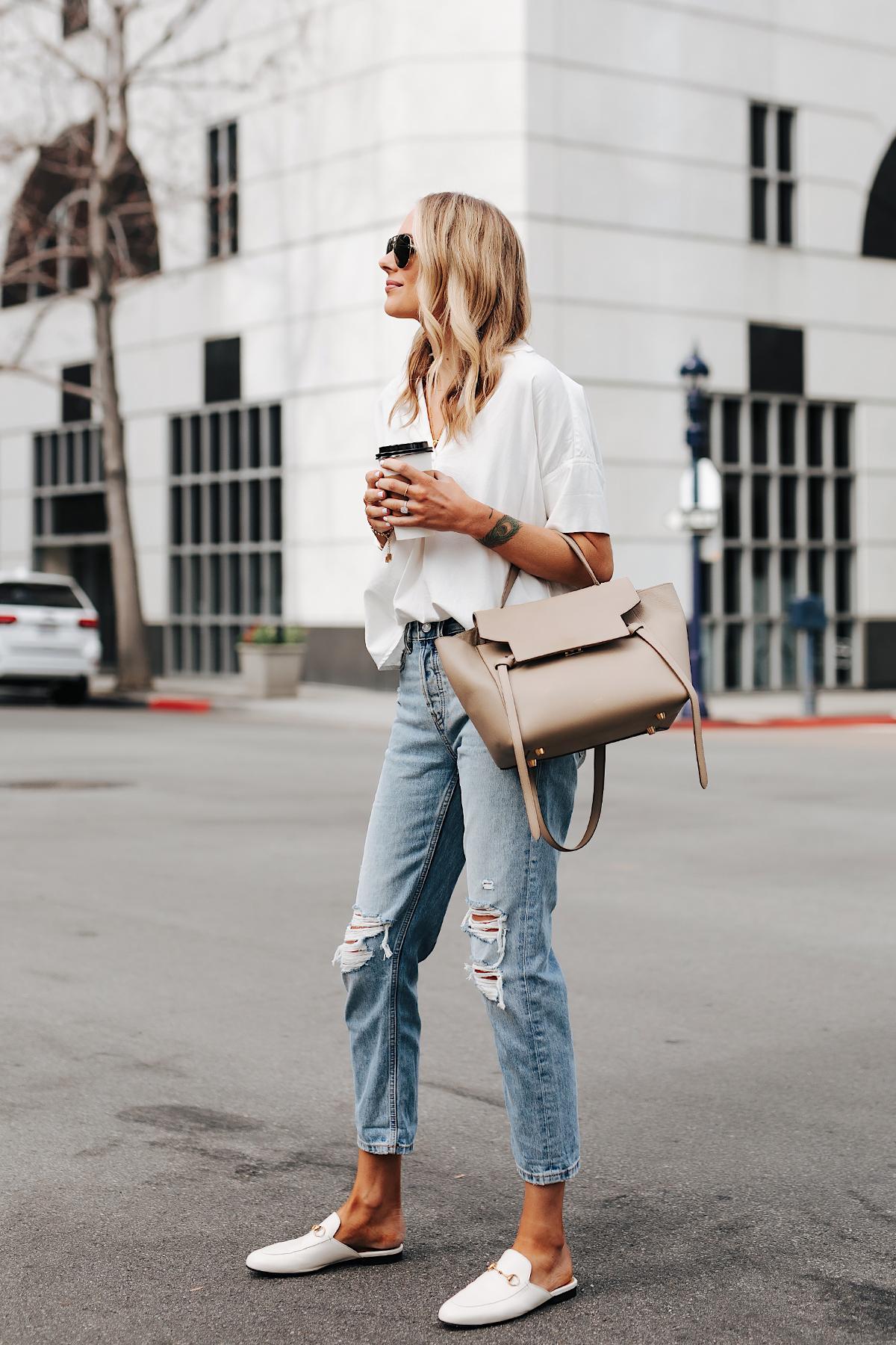 Fashion Jackson Wearing Madewell Short Sleeve White Shirt Everlane Ripped Boyfriend Jeans Gucci Princetown White Mules Celine Belt Bag