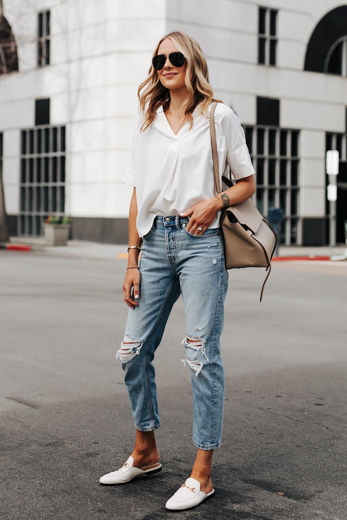 Fashion Jackson Wearing Short Sleeve White Shirt Everlane Ripped Boyfriend Jeans Gucci Princetown White Mules Celine Belt Bag