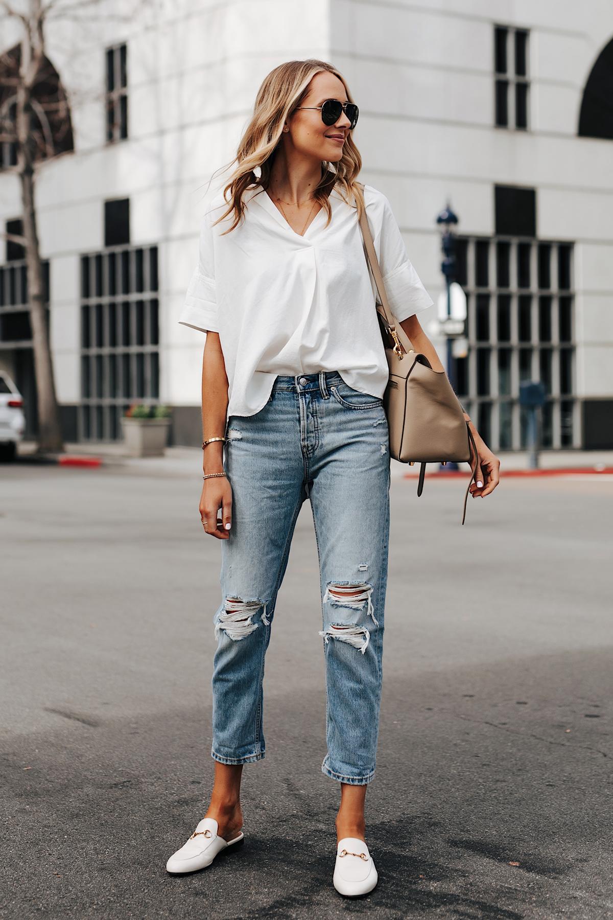 Fashion Jackson Wearing Short Sleeve White Shirt Everlane Ripped Boyfriend Jeans Gucci Princetown White Mules