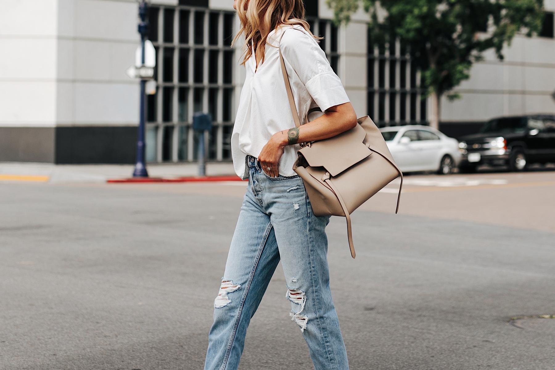 Fashion Jackson Wearing Short Sleeve White Shirt Ripped Jeans Celine Mini Belt Bag