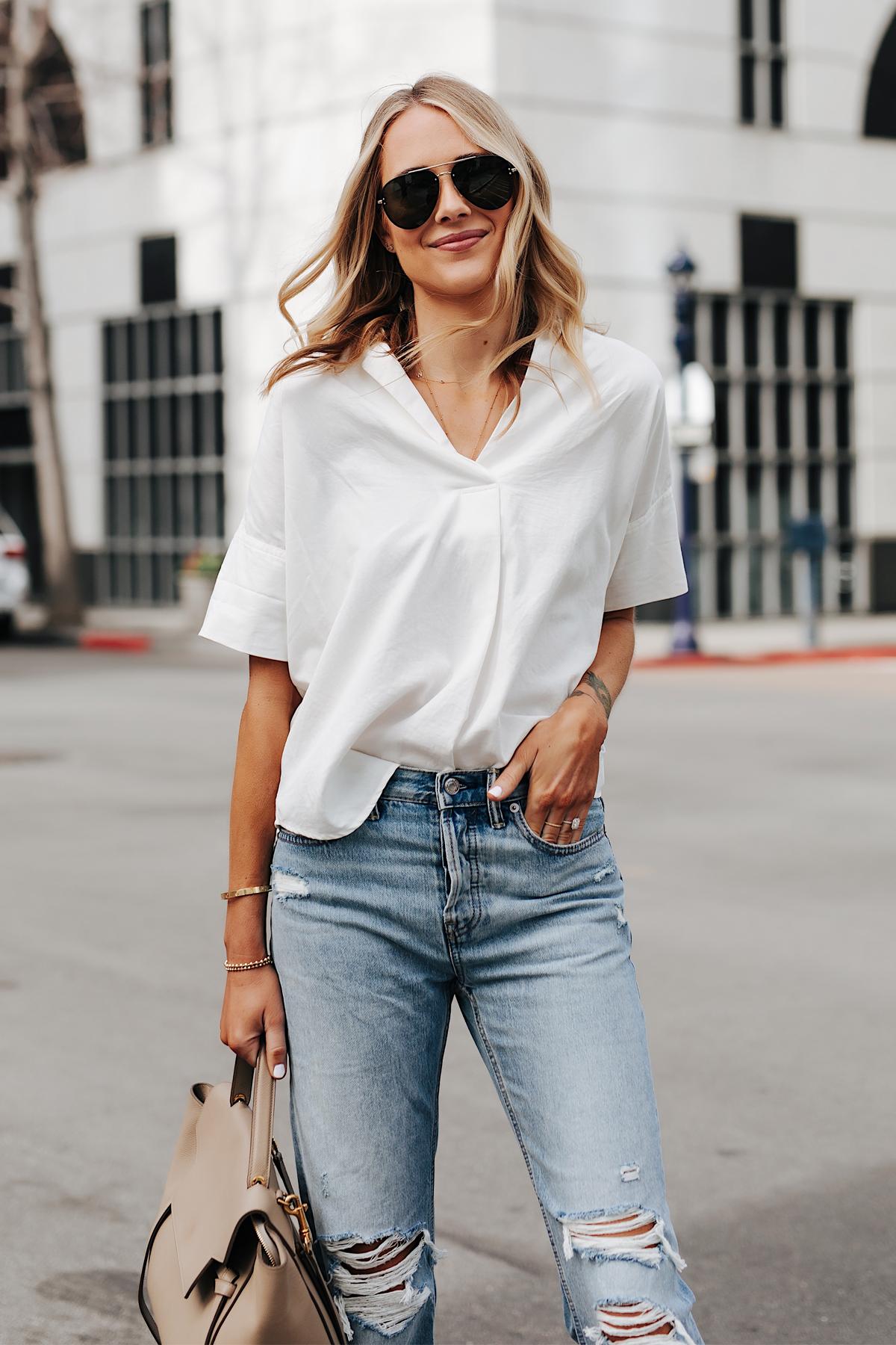 Fashion Jackson Wearing Short Sleeve White Shirt Ripped Jeans