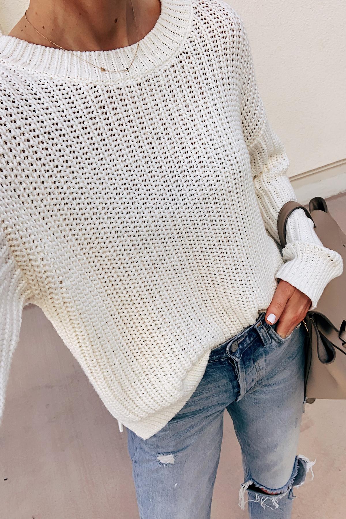 Fashion Jackson Wearing White Sweater Ripped Jeans