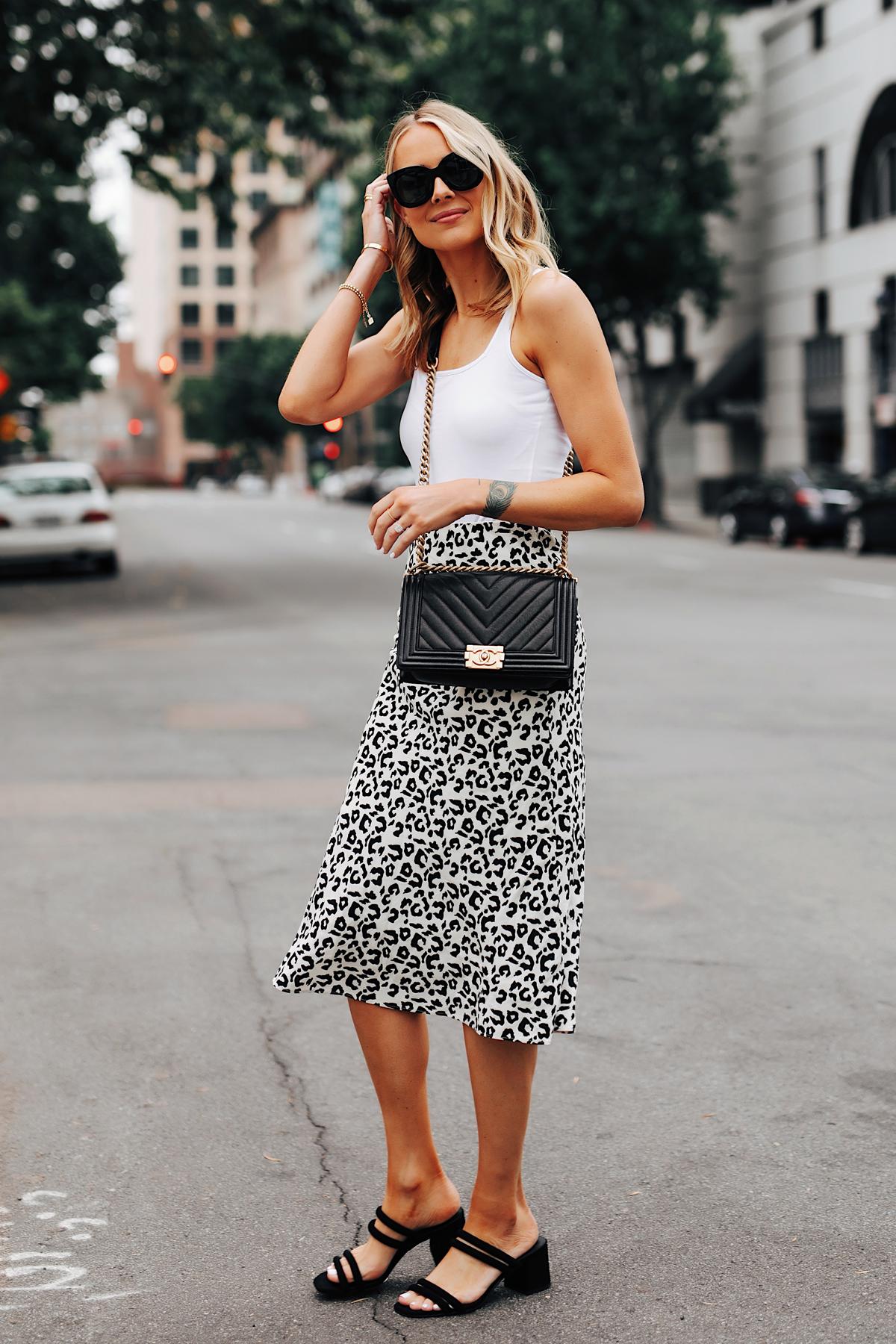 Fashion Jackson Wearing White Tank Leopard Midi Skrit Black Heeled Sandals Chanel Black Boy Bag 1