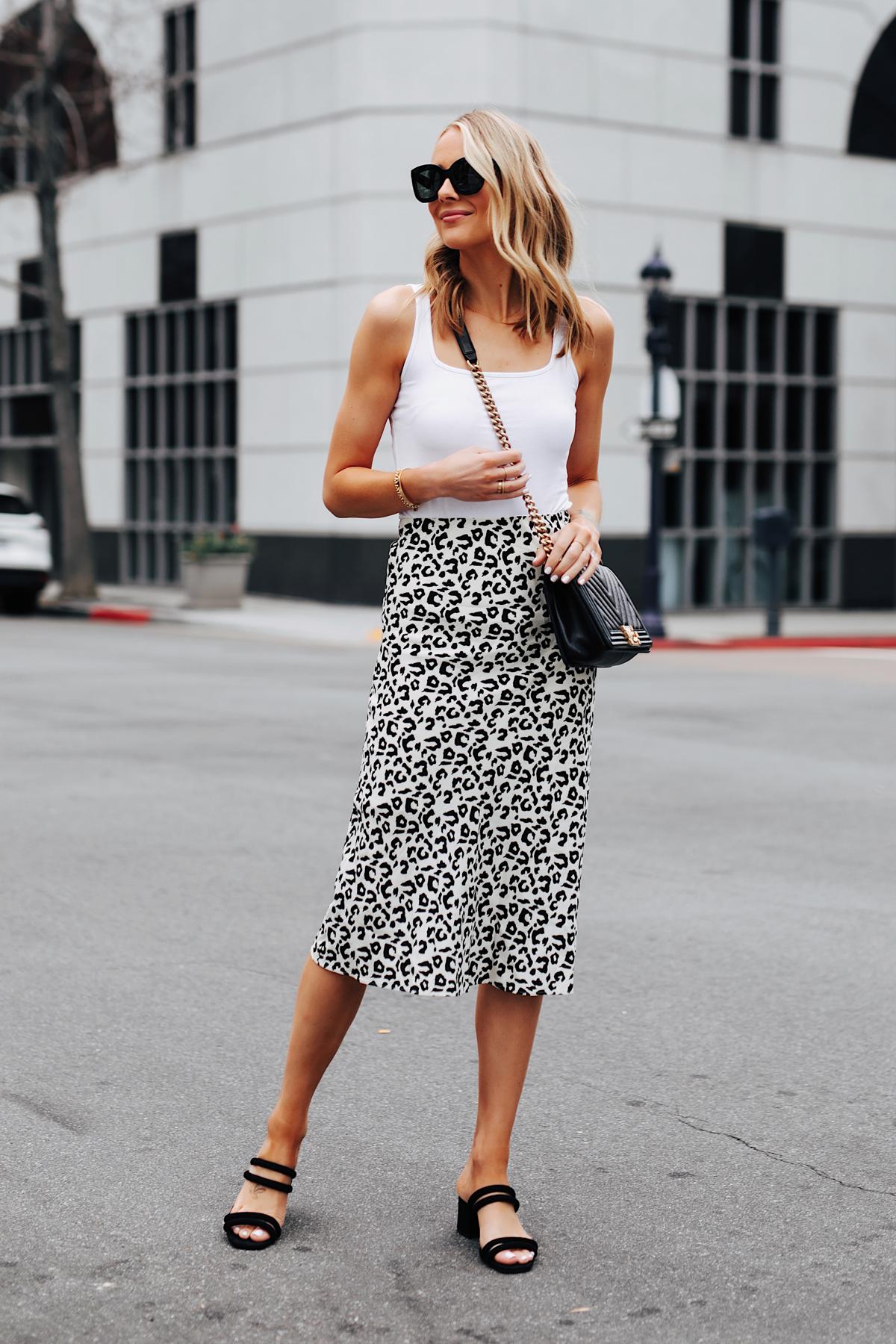 Fashion Jackson Wearing White Tank Leopard Midi Skrit Black Heeled Sandals Chanel Black Boy Bag