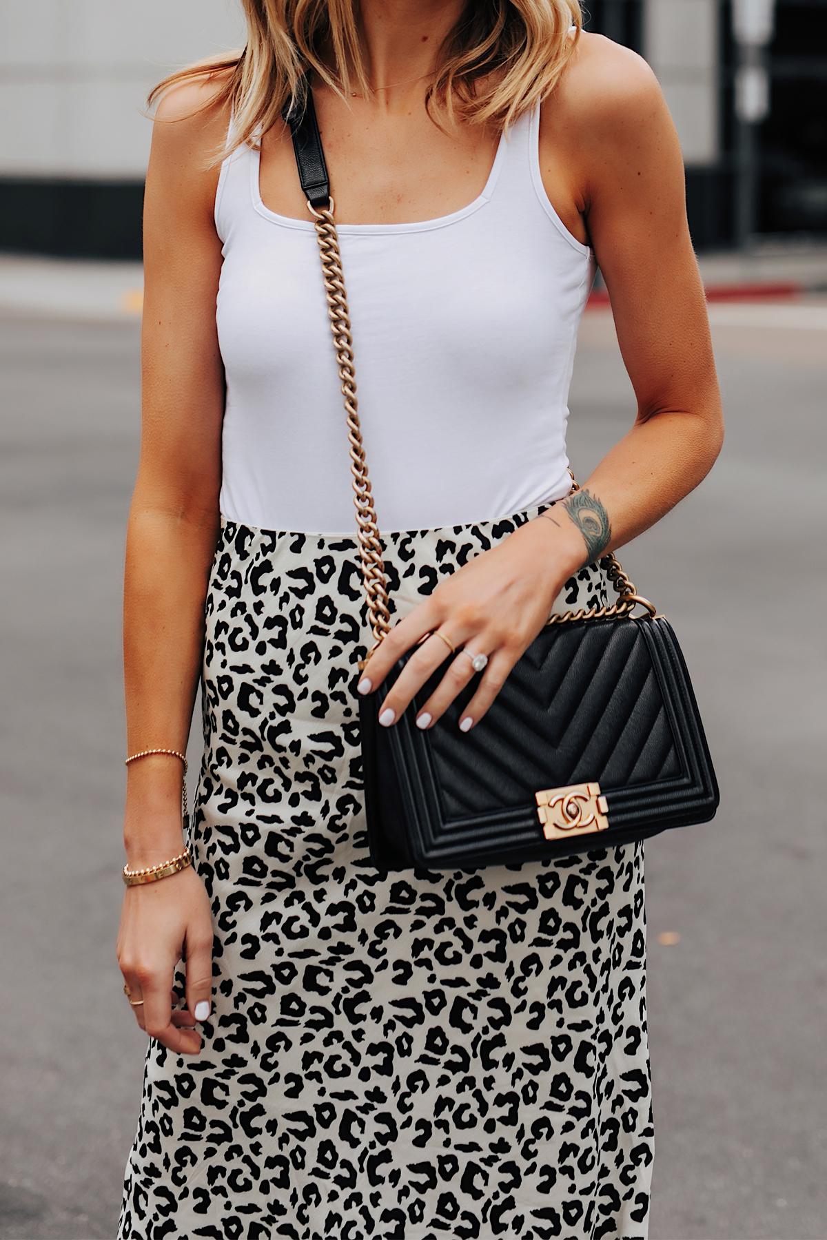 Fashion Jackson Wearing White Tank Leopard Skirt Chanel Black Boy Bag