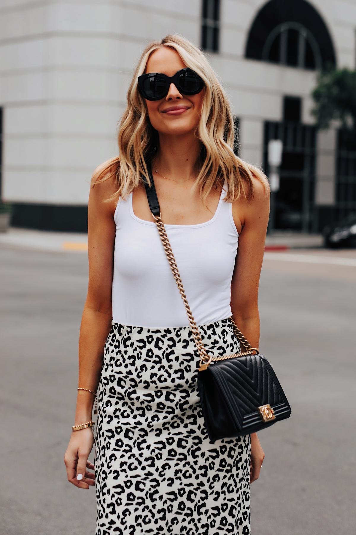 Fashion Jackson Wearing White Tank Leopard Skirt Chanel Black Boy Bag 1