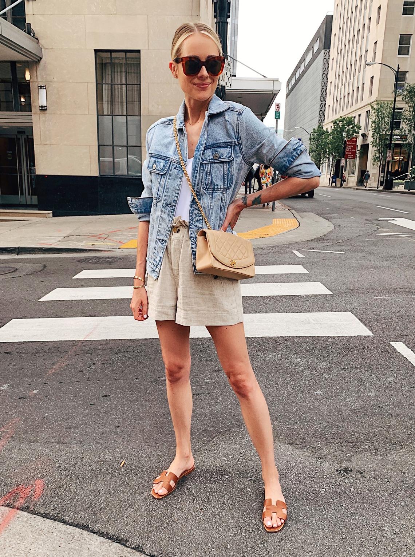 Fashion Jackson Wearing Abercrombie Denim Jacket Topshop Linen Shorts Hermes Oran Sandals Chanel Beige Handbag