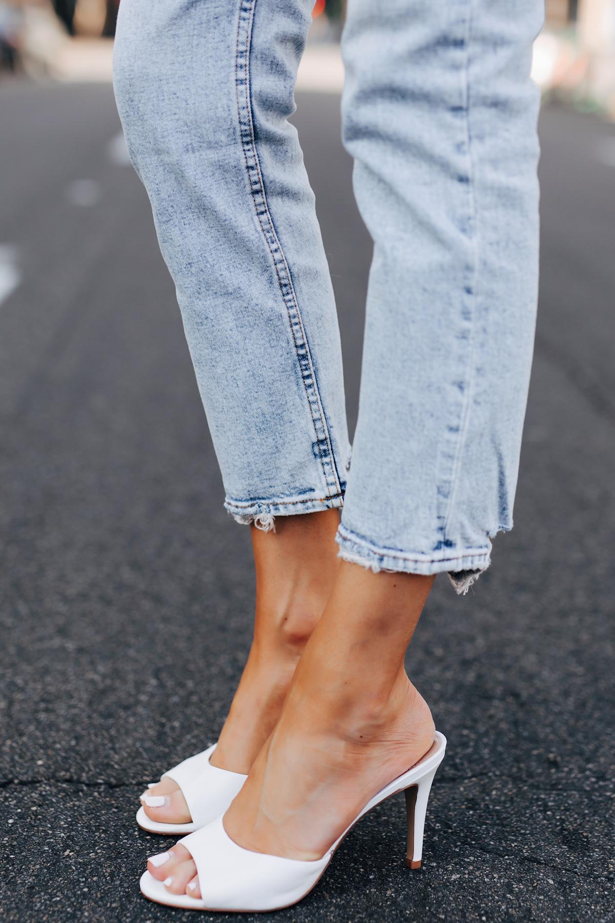 Fashion Jackson Wearing Abercrombie Straight Leg Jeans Steve Madden Erin White Leather Heels