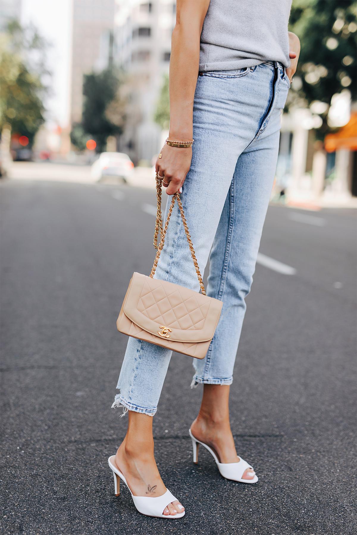 Fashion Jackson Wearing Abercrombie Straight Leg Jeans White Heels Chanel Beige Handbag