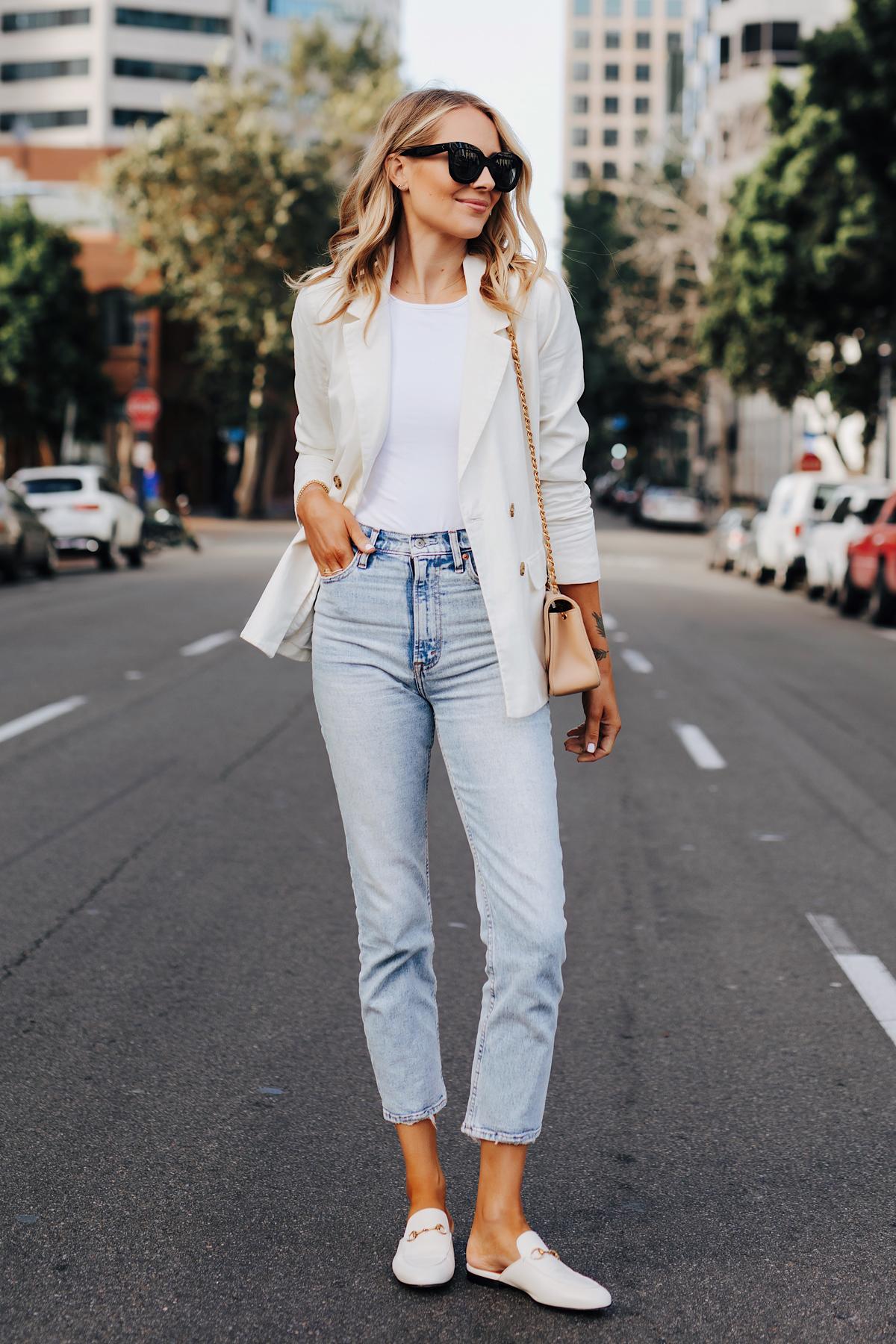 Fashion Jackson Wearing Abercrombie White Linen Blazer White Top Straigt Leg Cropped Jeans Gucci Princetown Mules White Beige Chanel Handbag 1