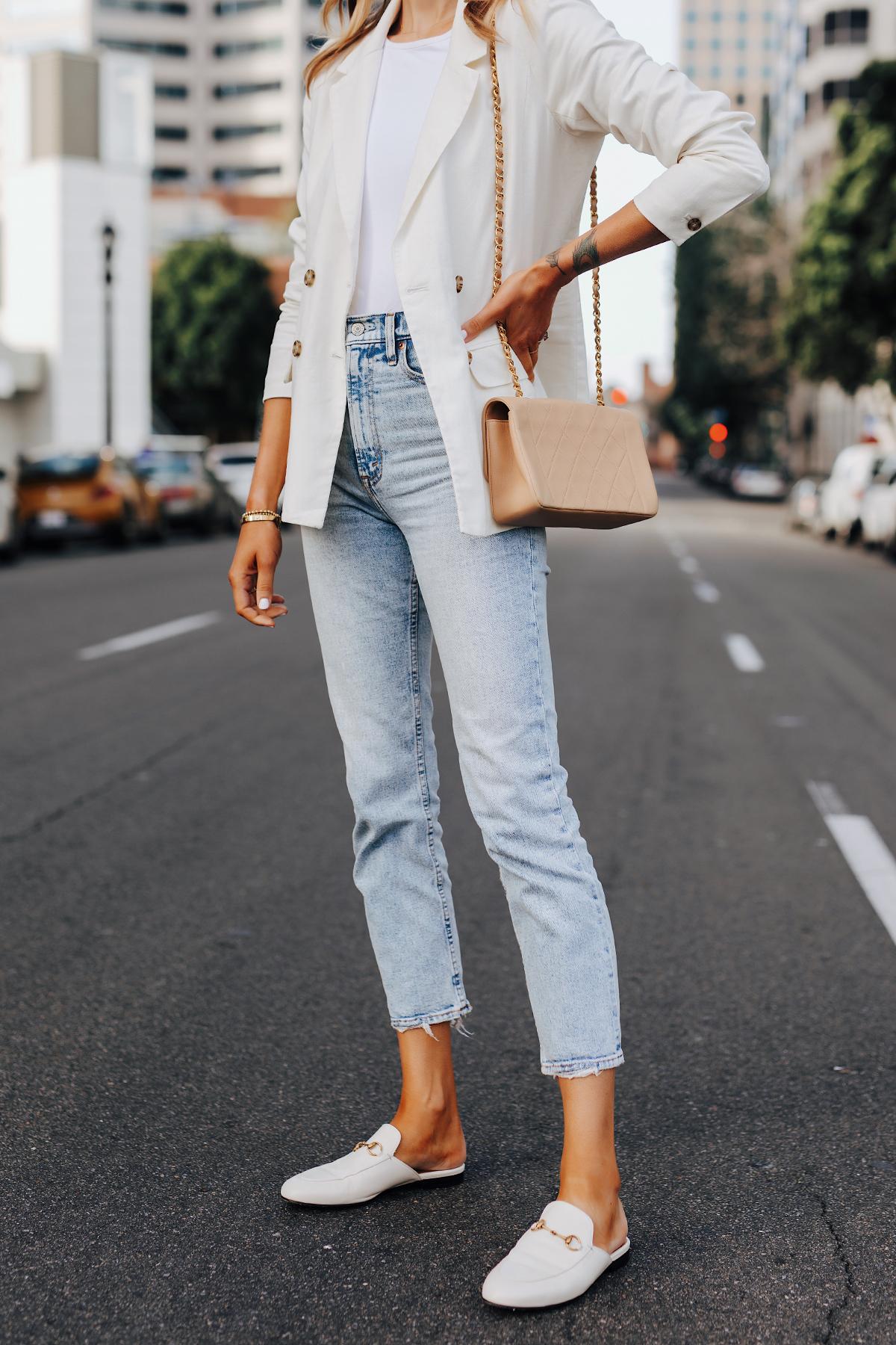 Fashion Jackson Wearing Abercrombie White Linen Blazer White Top Straigt Leg Cropped Jeans Gucci Princetown Mules White Beige Chanel Handbag