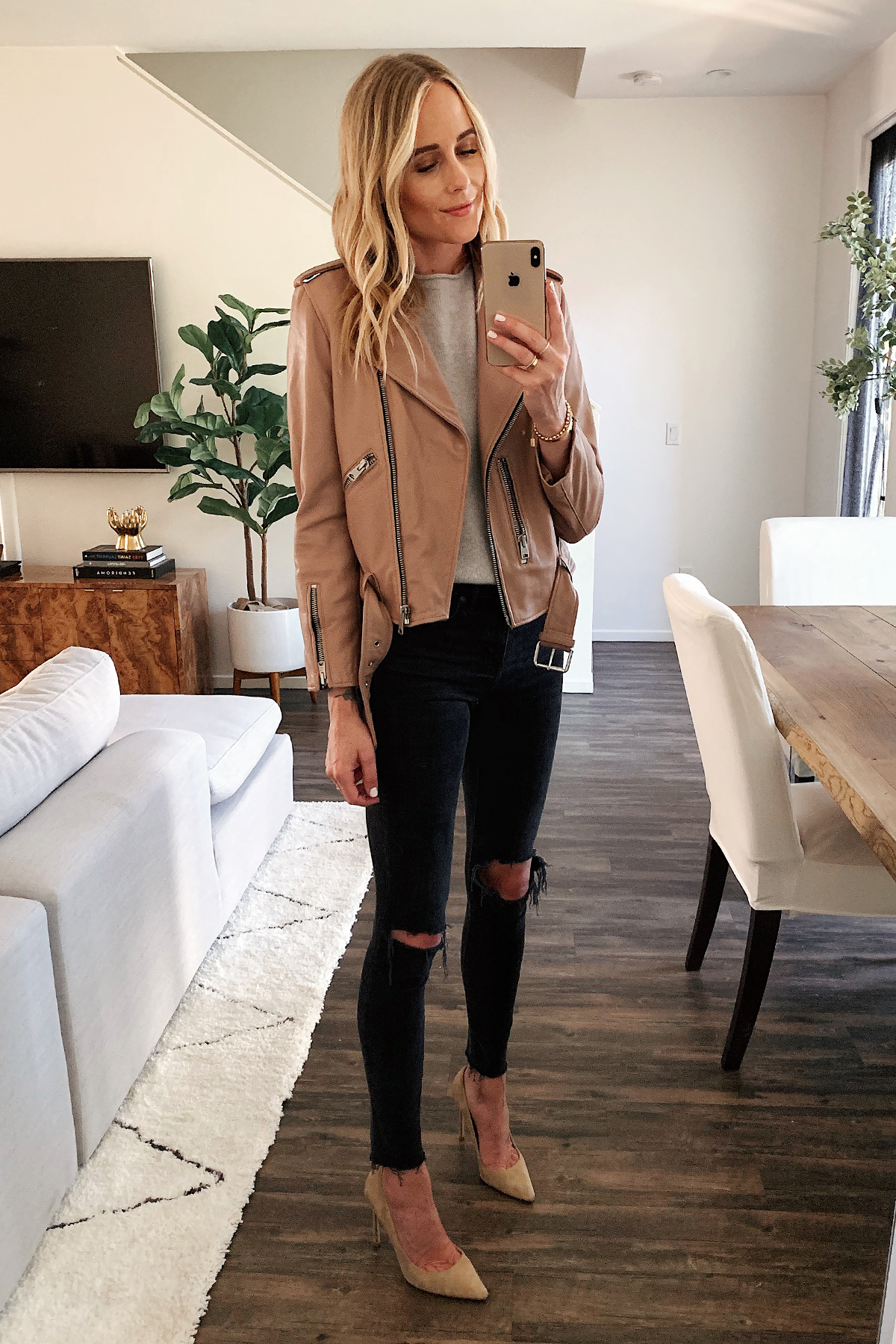 Fashion Jackson Wearing Allsaints Blush Leather Moto Jacket Grey Sweater Black Ripped Skinny Jeans Nude Pumps