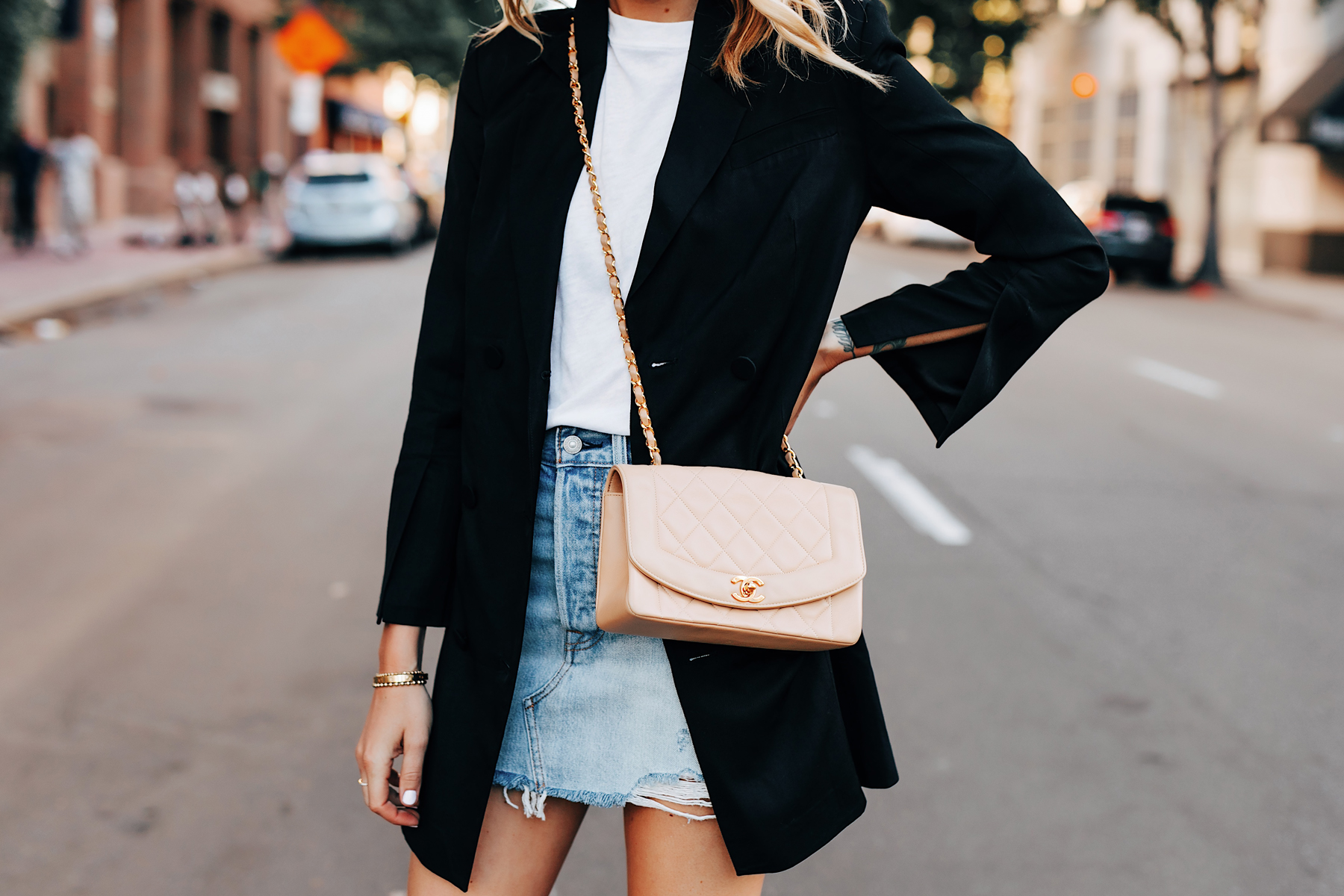 Fashion Jackson Wearing Anine Bing Black Blazer White Tshirt Levis Denim Skirt Chanel Beige Handbag 1