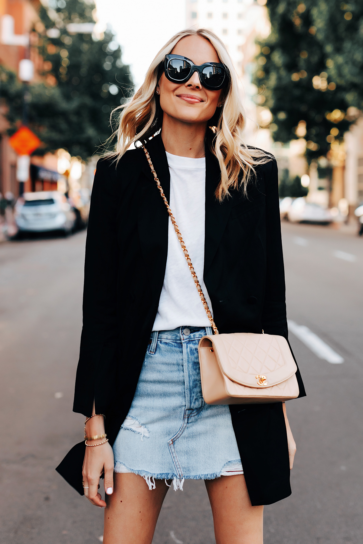 Fashion Jackson Wearing Anine Bing Black Blazer White Tshirt Levis Denim Skirt Chanel Beige Handbag