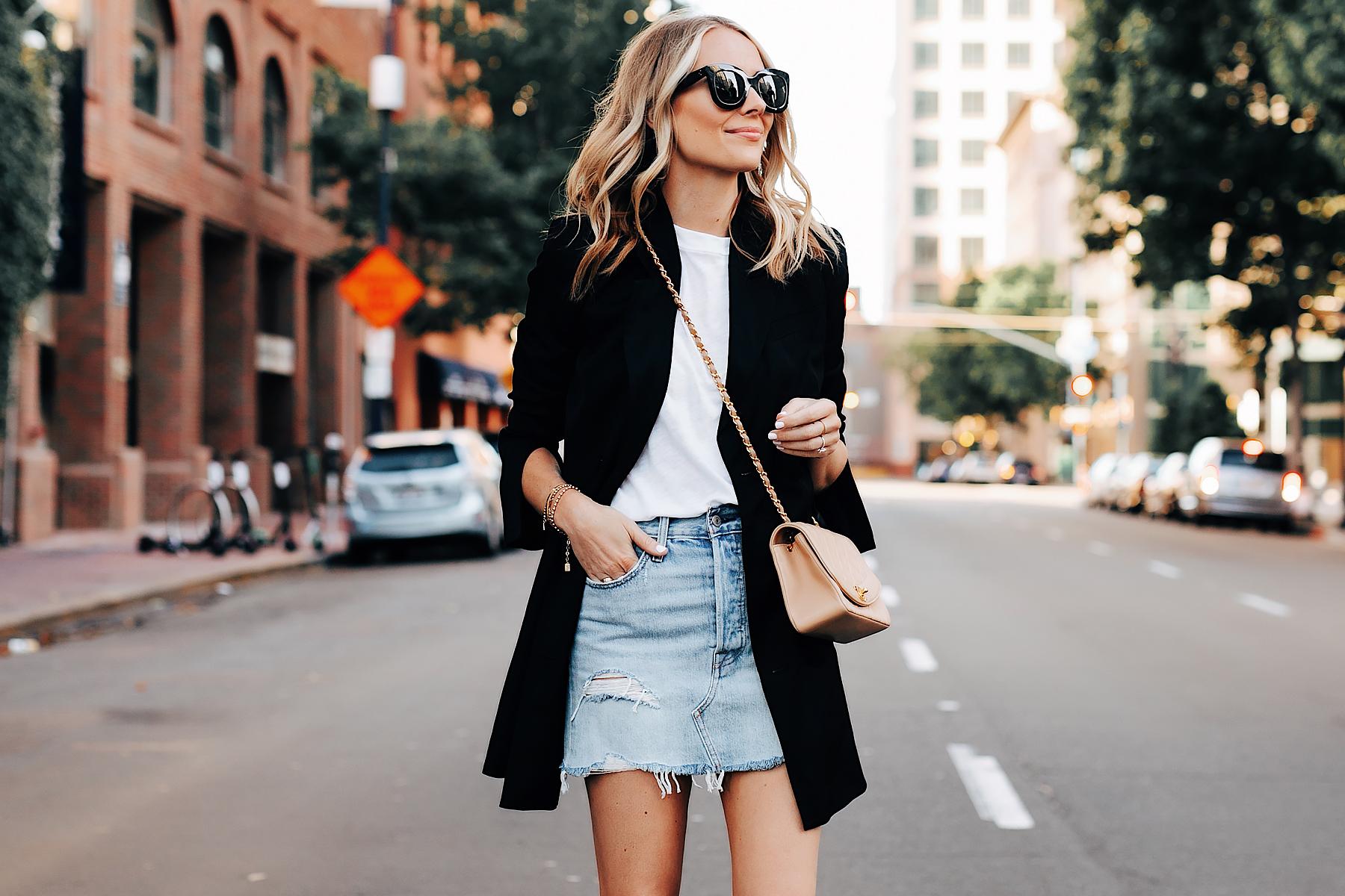 Fashion Jackson Wearing Anine Bing Black Blazer White Tshirt Levis Denim Skirt Chanel Beige Handbag Black Celine Sunglasses